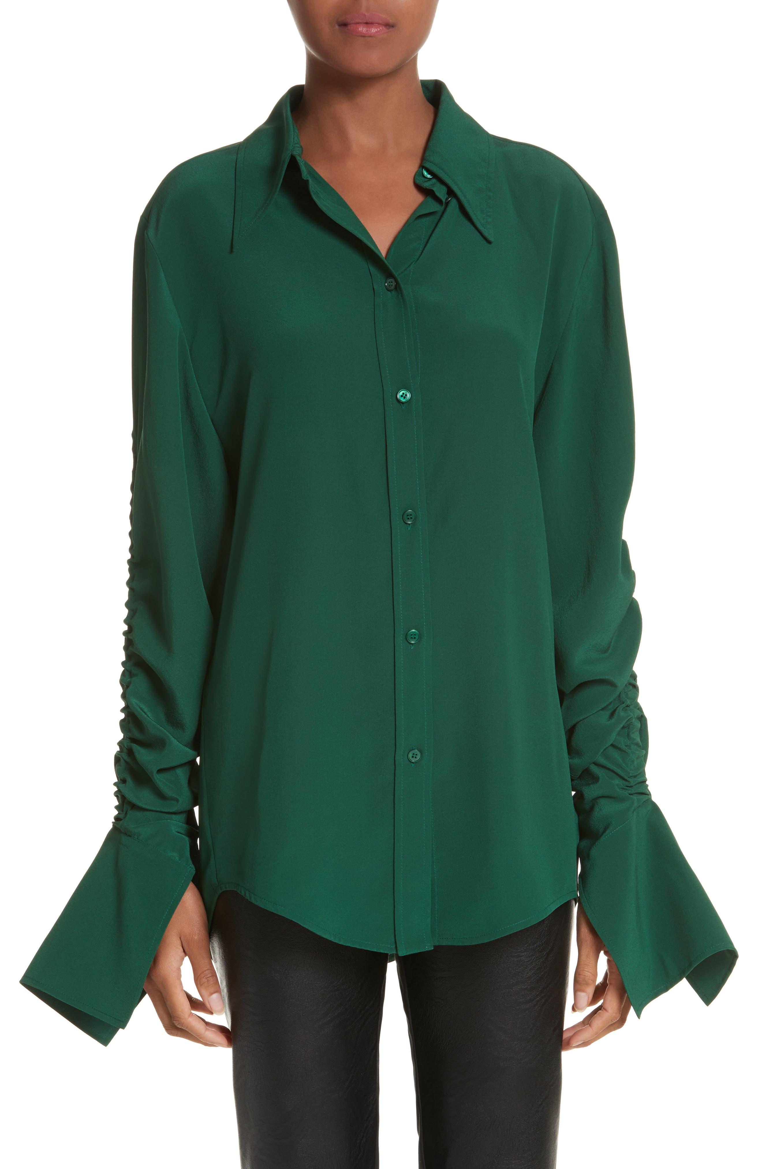 Ruched Flare Cuff Silk Shirt,                             Main thumbnail 1, color,                             Leaf Green