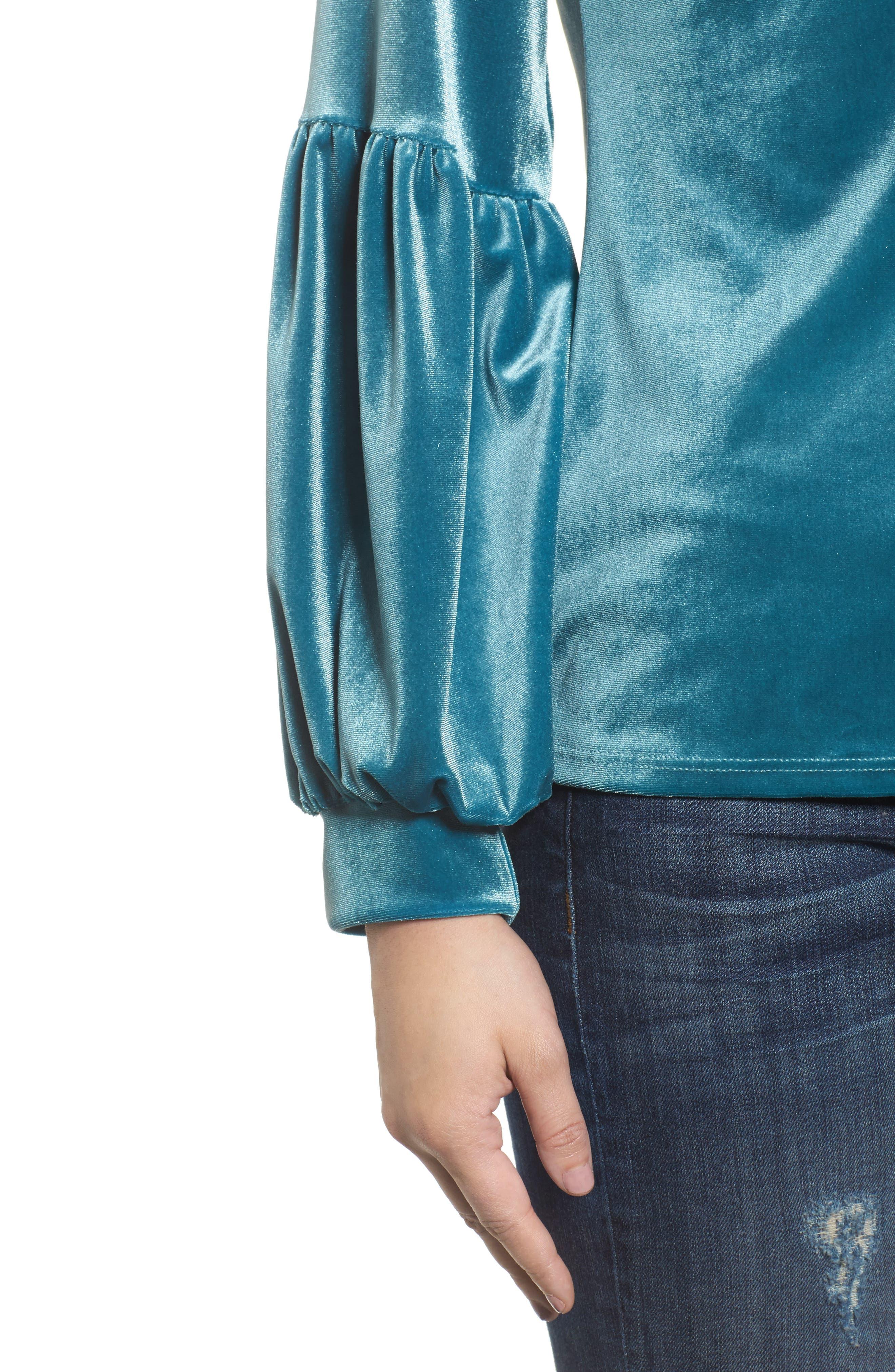 Alternate Image 4  - Halogen® Blouson Sleeve Stretch Velvet Top