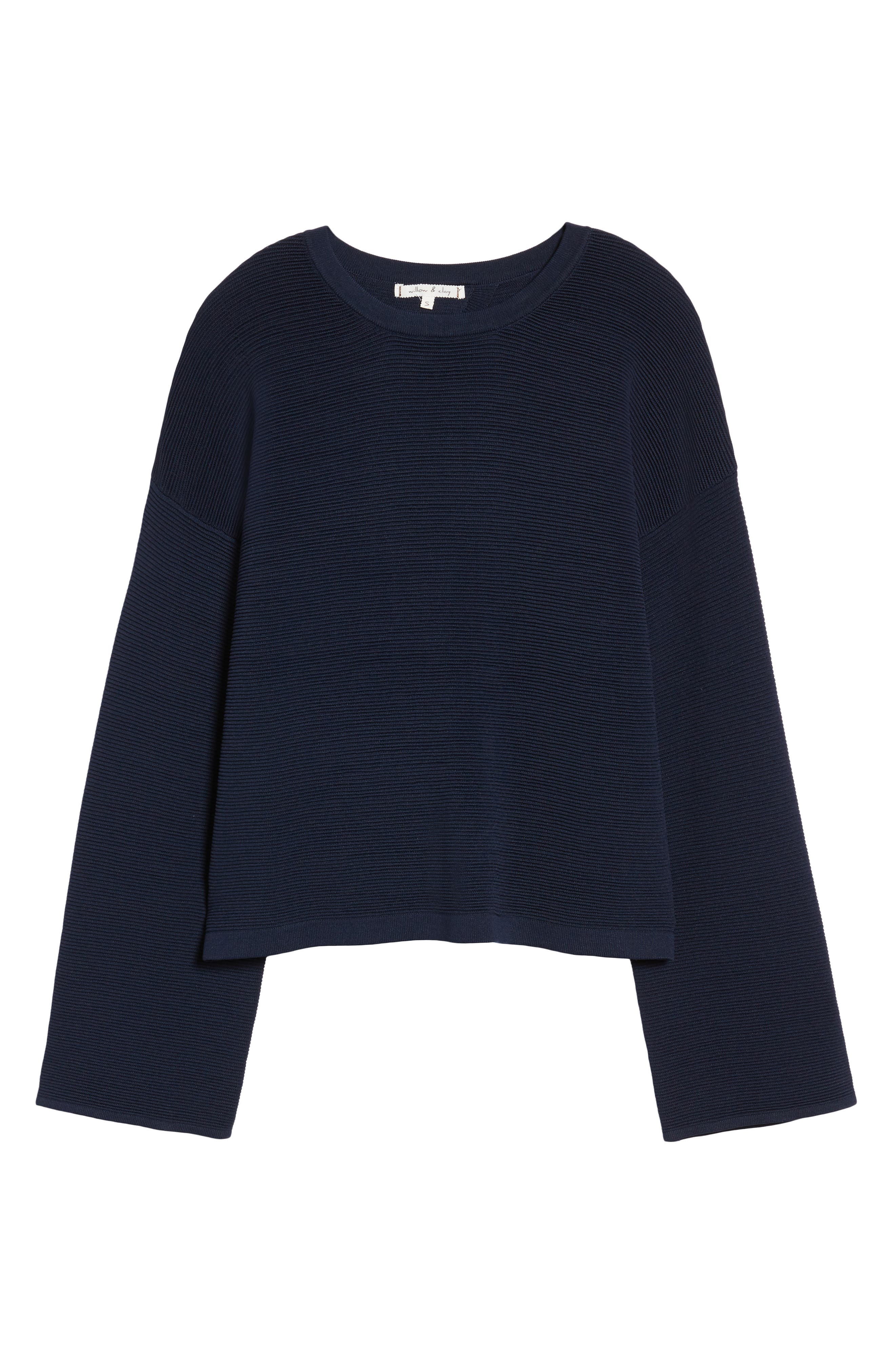 Cutout Ribbed Sweater,                             Alternate thumbnail 6, color,                             Navy