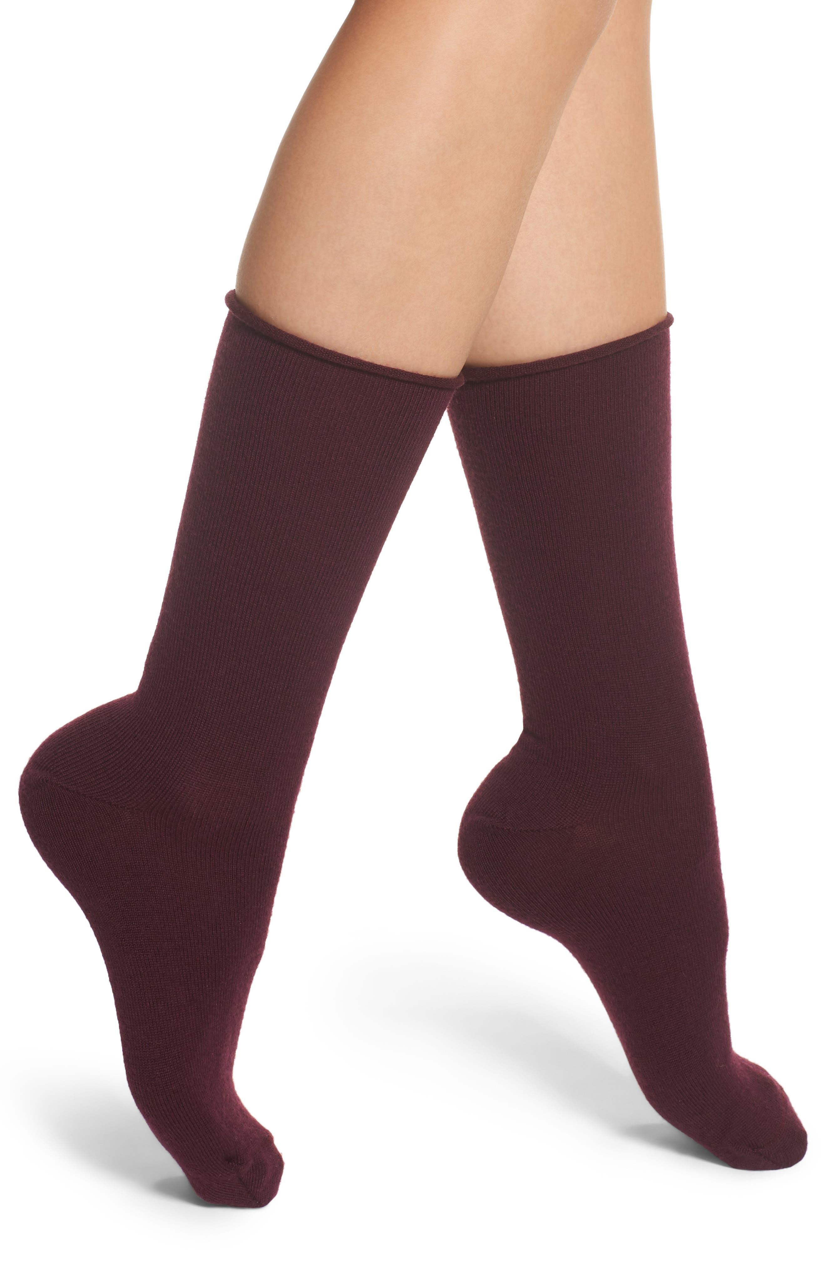Nordstrom Merino Wool Roll Top Crew Socks