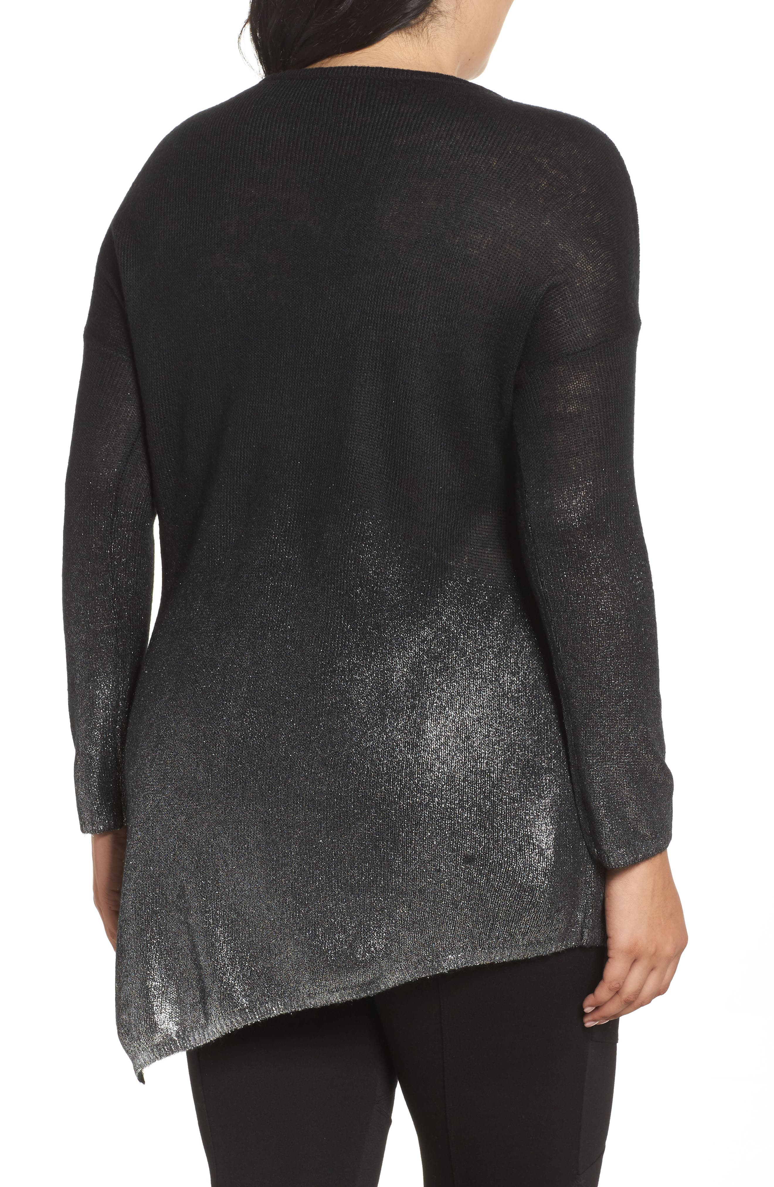 Asymmetrical Metallic Ombré Sweater,                             Alternate thumbnail 2, color,                             Rich Black