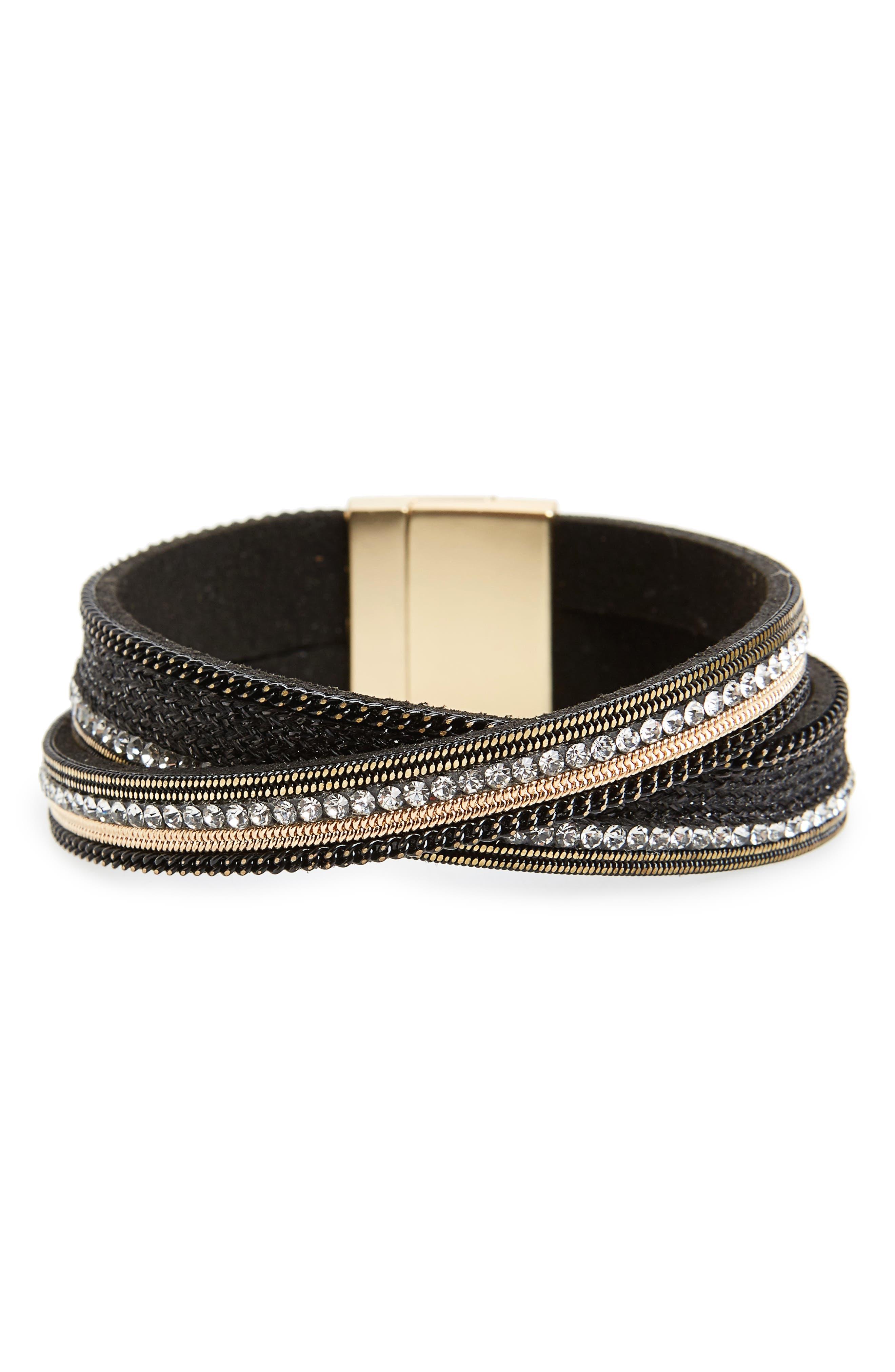 Faux Leather Magnetic Bracelet,                         Main,                         color, Black