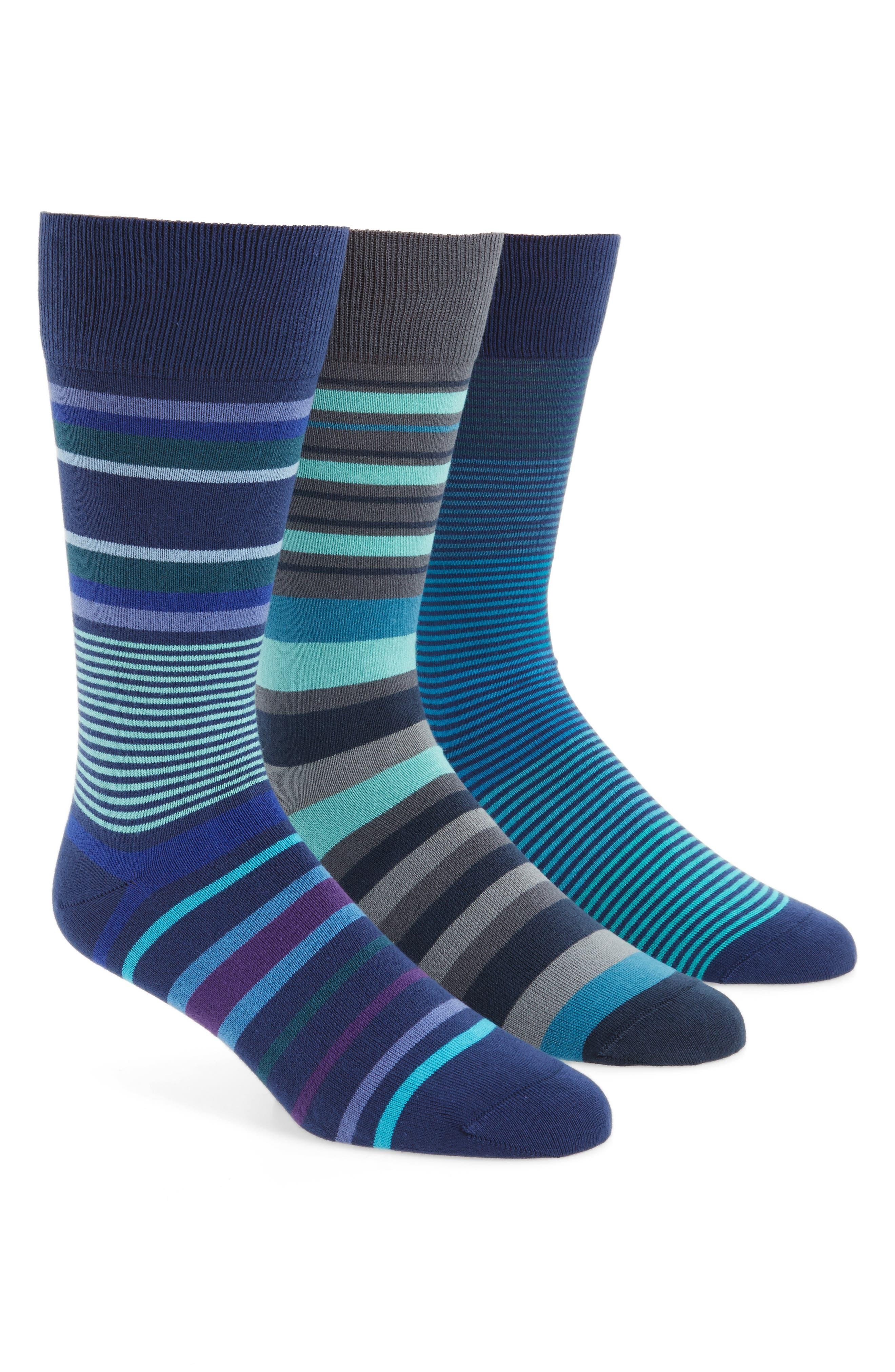 3-Pack Stripe Socks,                         Main,                         color, Navy Combo