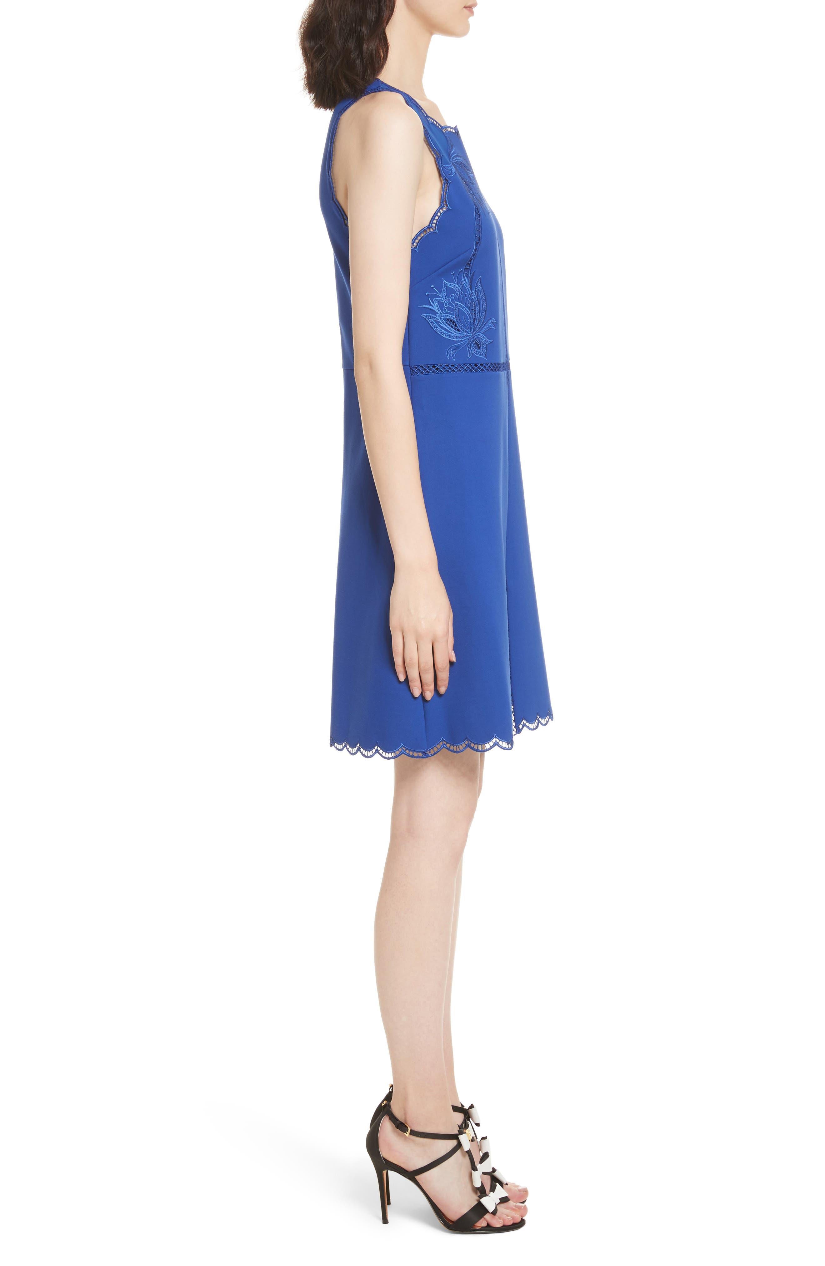 Codi Embroidered Scallop A-Line Dress,                             Alternate thumbnail 3, color,                             Mid Blue