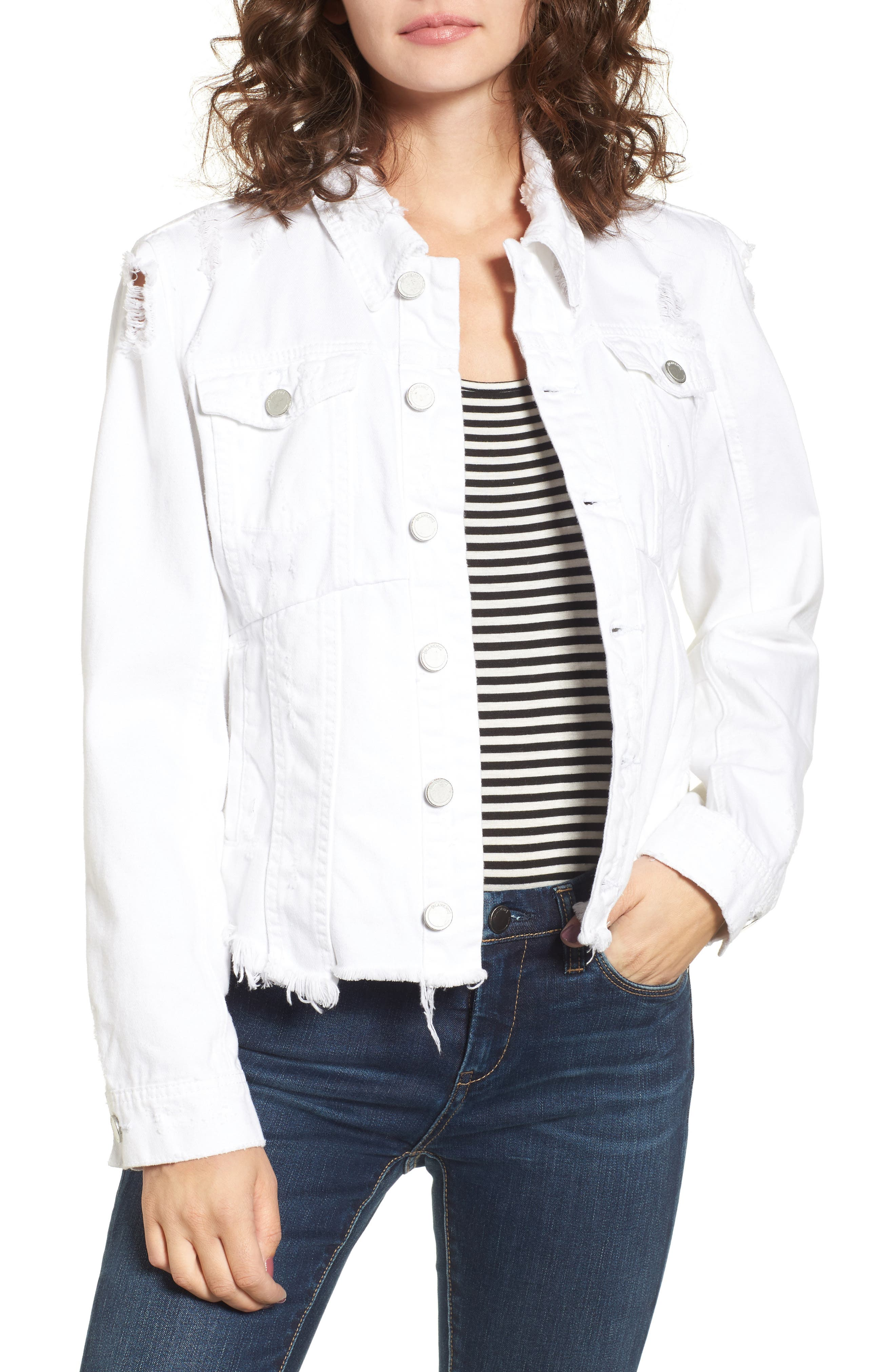 Distressed Denim Jacket,                         Main,                         color, Lightbox White