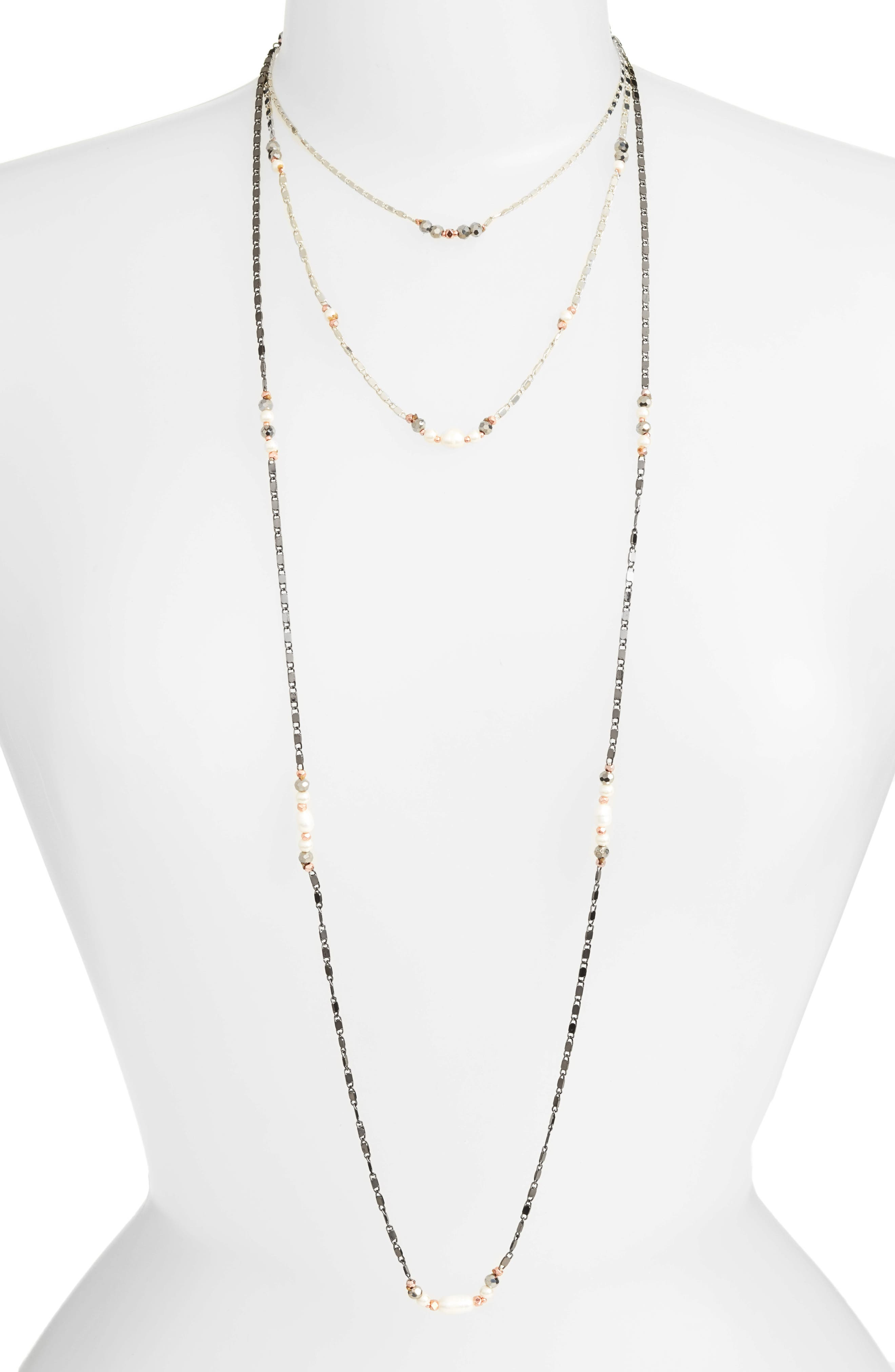 Layered Chain Necklace,                         Main,                         color, White