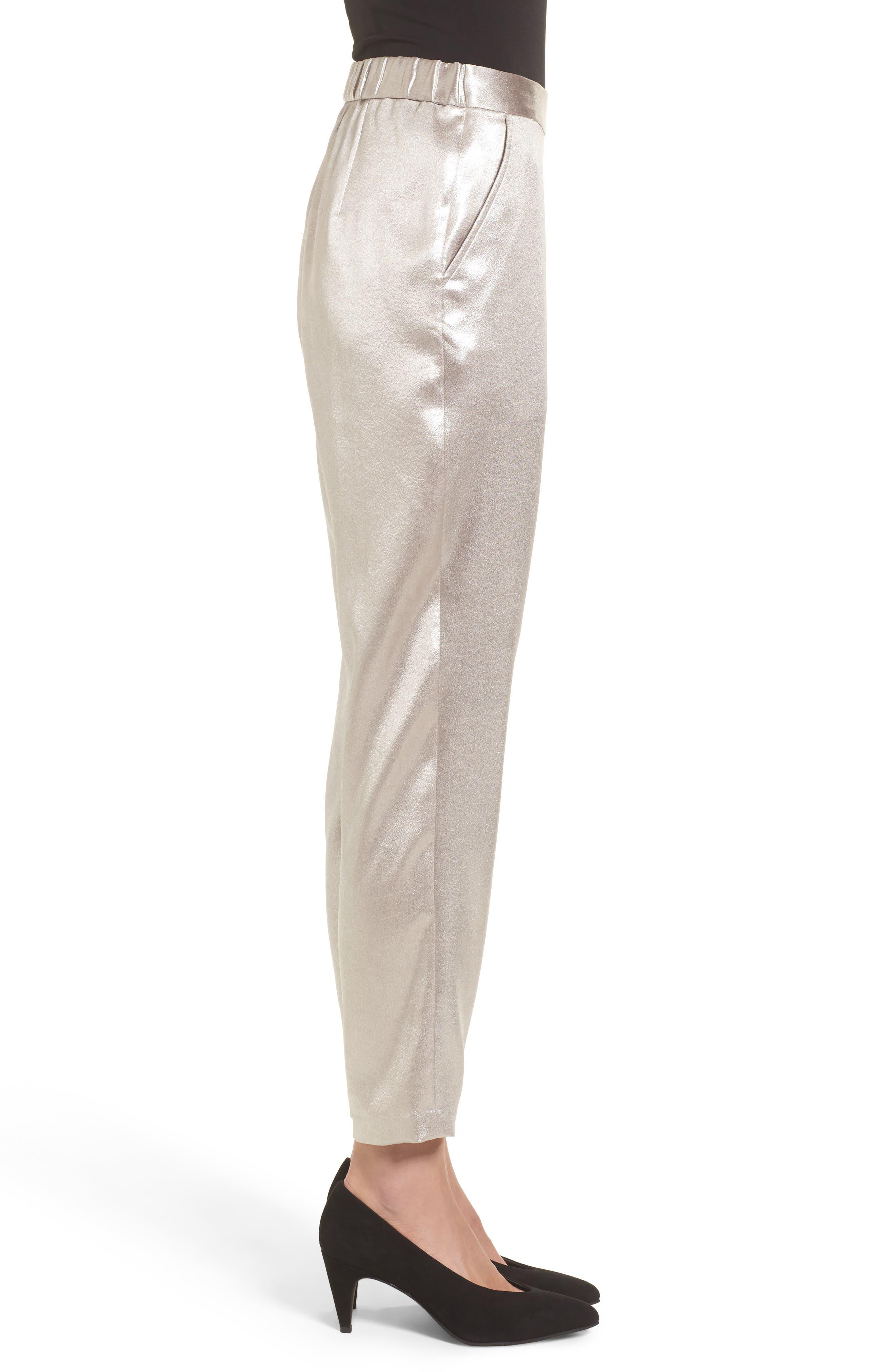 Satin High Waist Ankle Pants,                             Alternate thumbnail 4, color,                             Grey Chateau Metallic