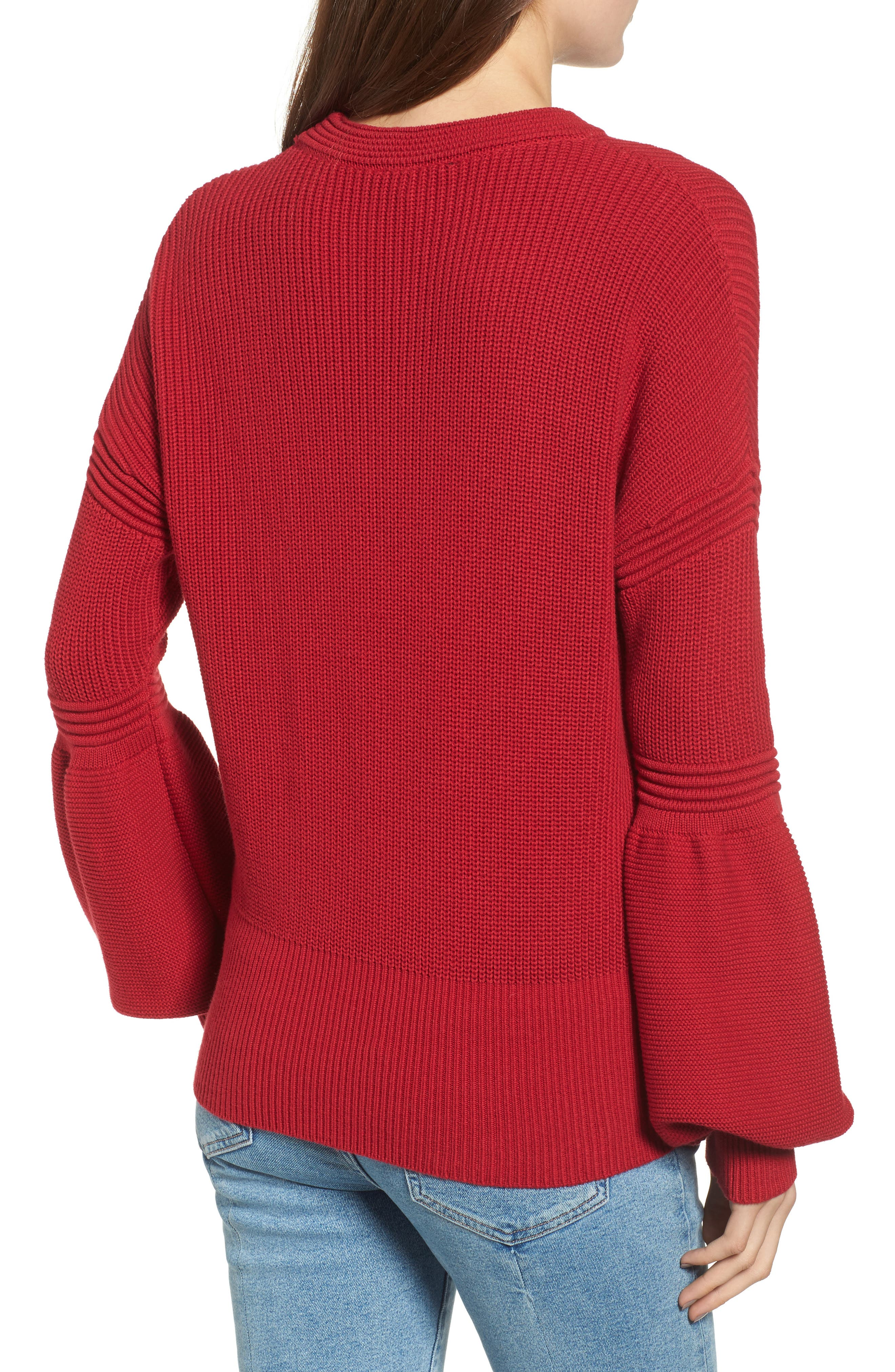Sculpture Puff Sleeve Sweater,                             Alternate thumbnail 2, color,                             Red