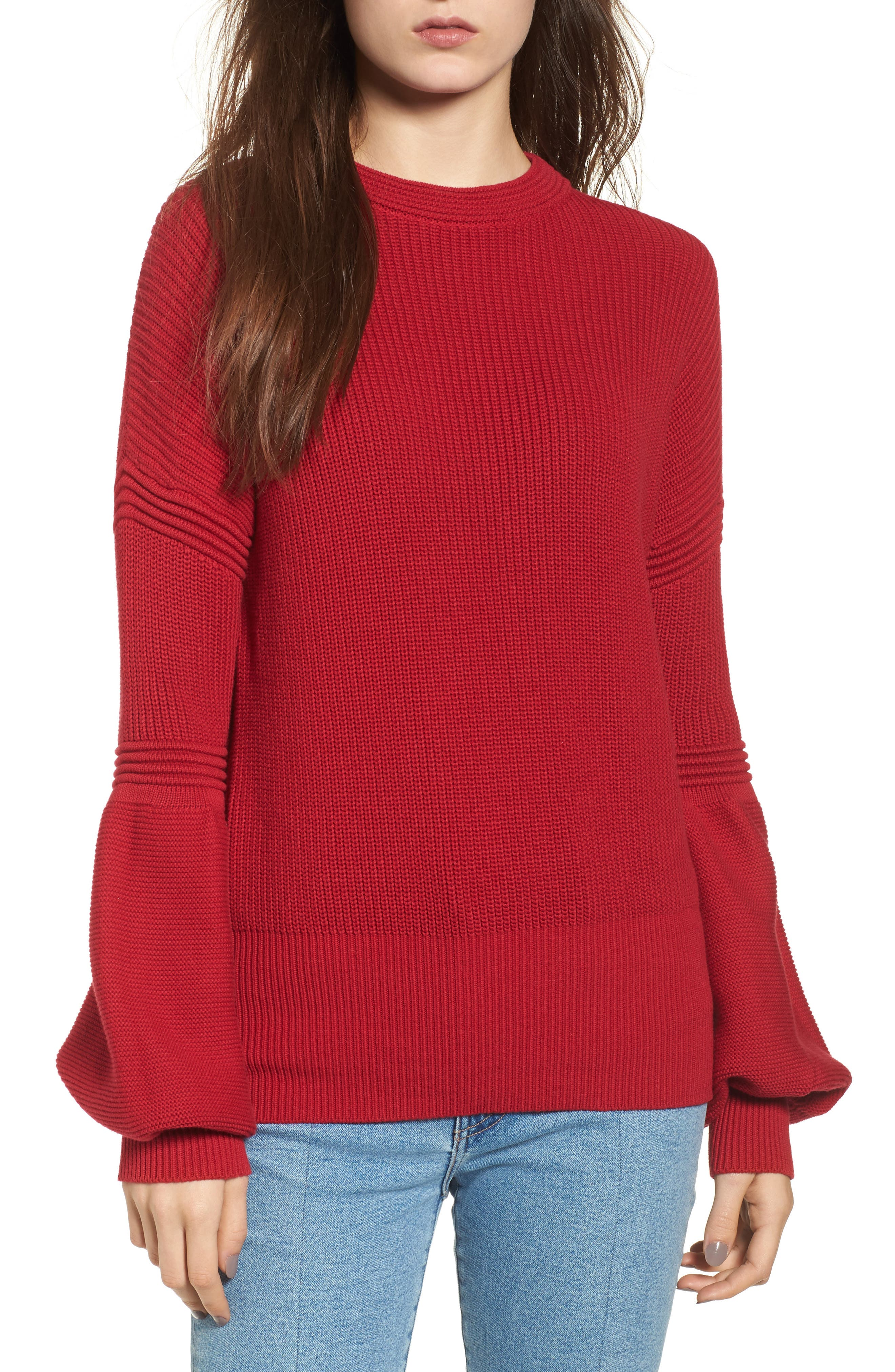 Sculpture Puff Sleeve Sweater,                         Main,                         color, Red
