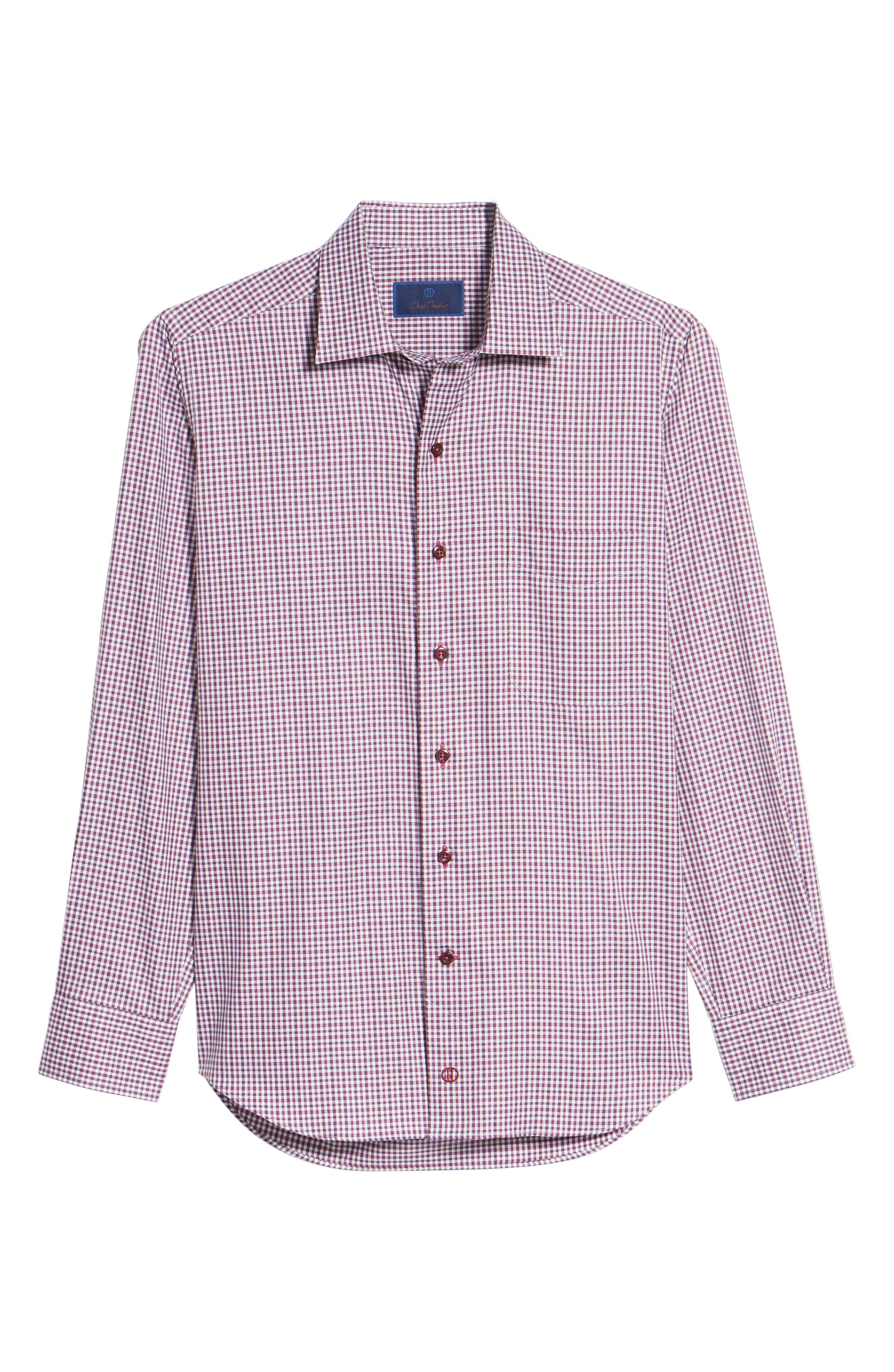 Plaid Regular Fit Sport Shirt,                             Alternate thumbnail 6, color,                             Berry