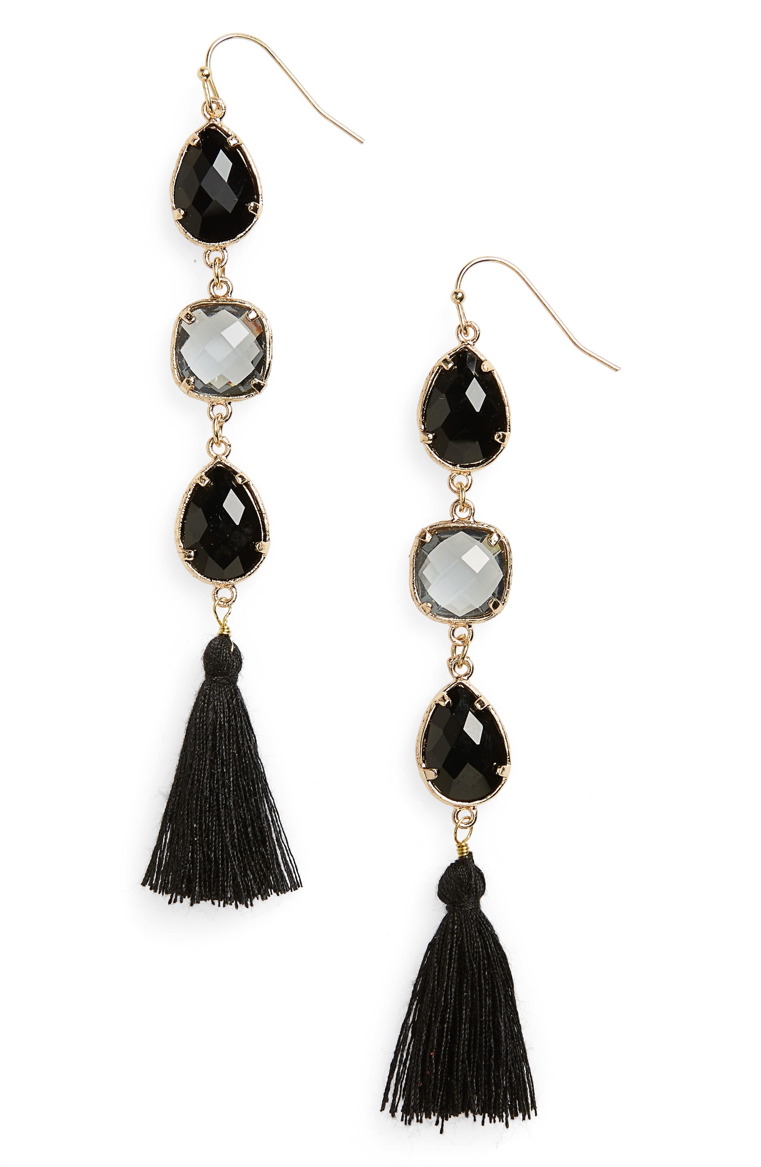 Crystal Tassel Earrings,                         Main,                         color, Black