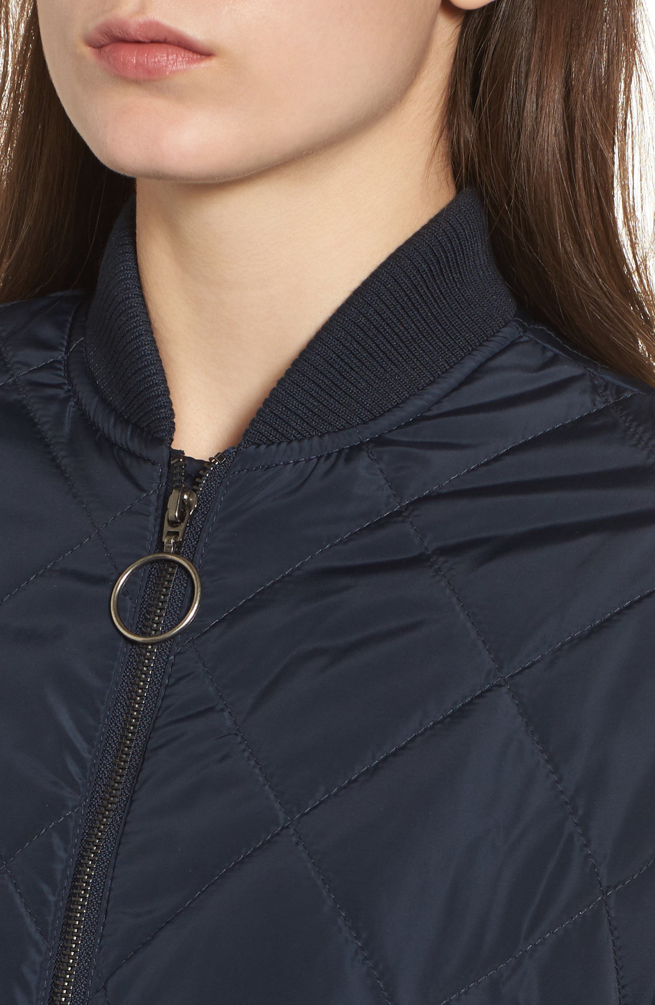 Merchant Long Quilted Jacket,                             Alternate thumbnail 4, color,                             Navy