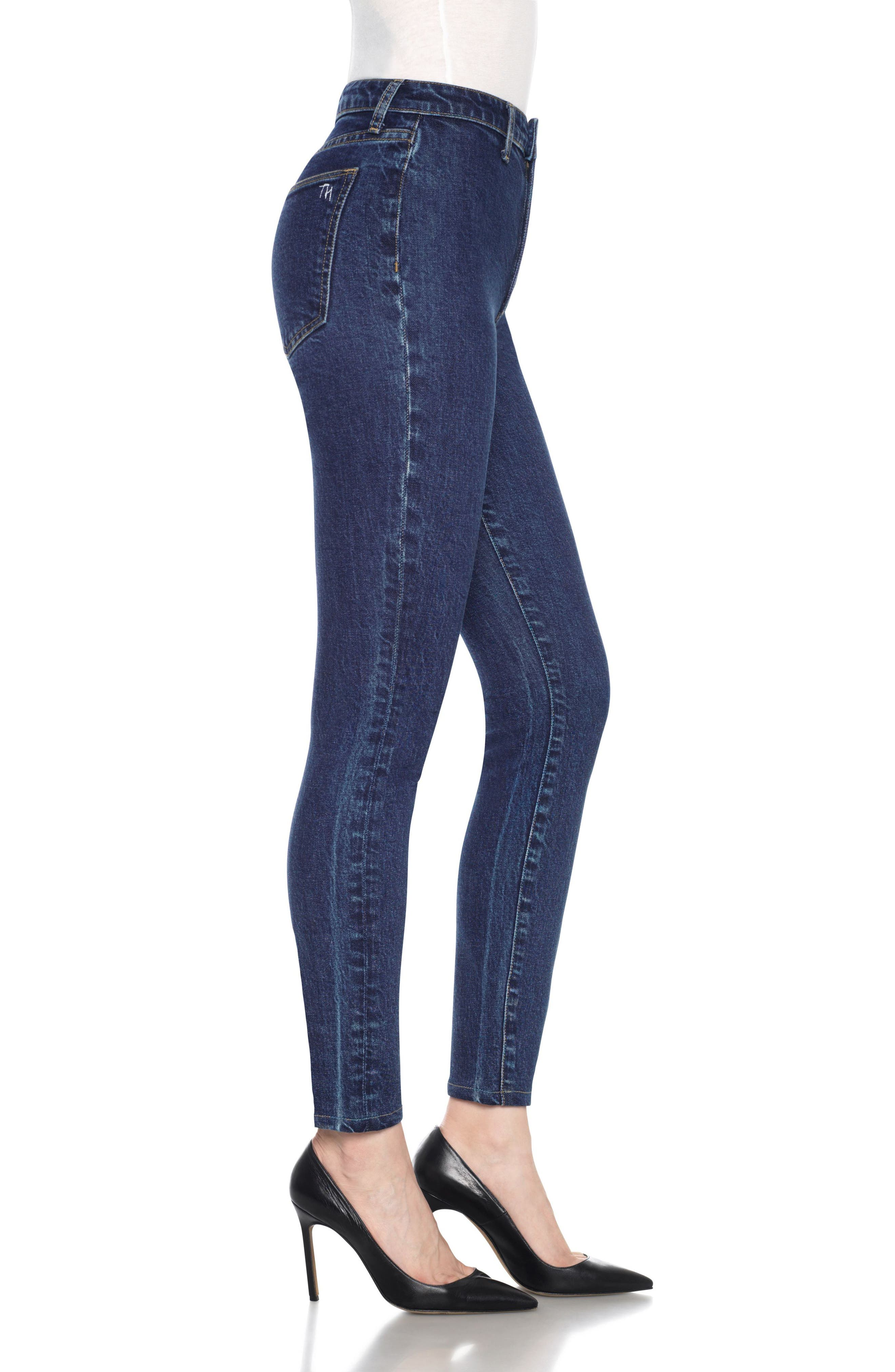 Charlie High Waist Ankle Skinny Jeans,                             Alternate thumbnail 4, color,                             Sheela