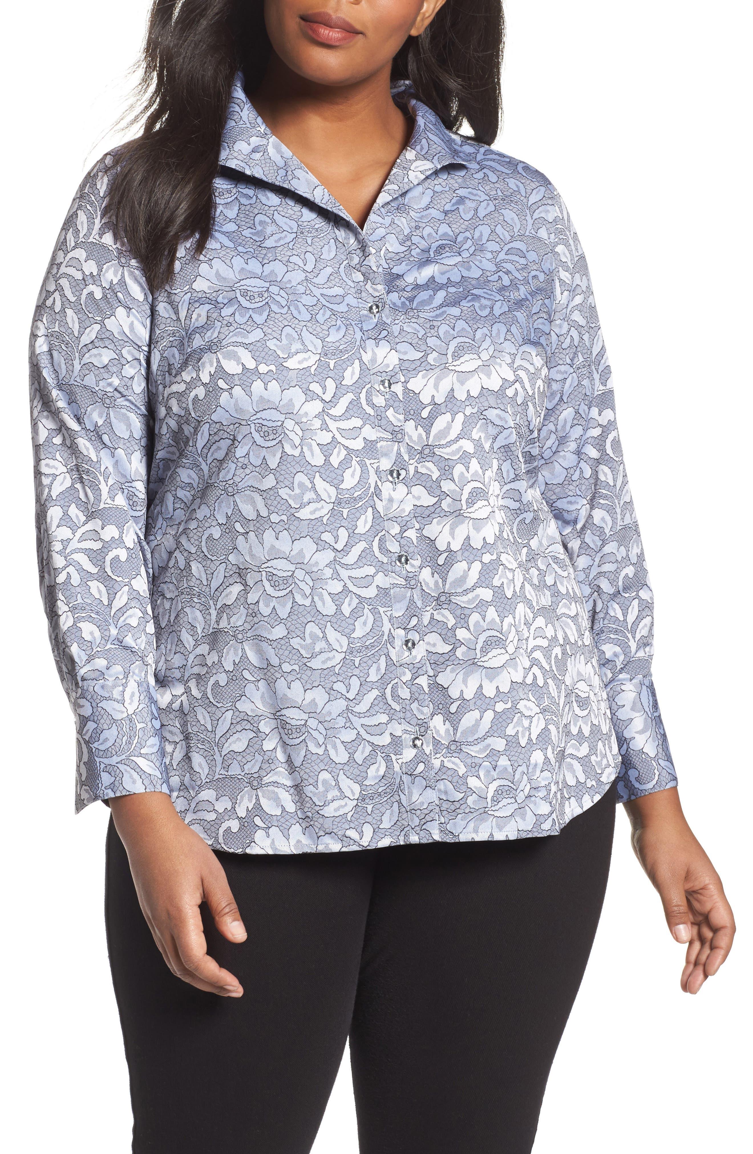 Foxcroft Rhonda Lace Jacquard Shirt (Plus Size)