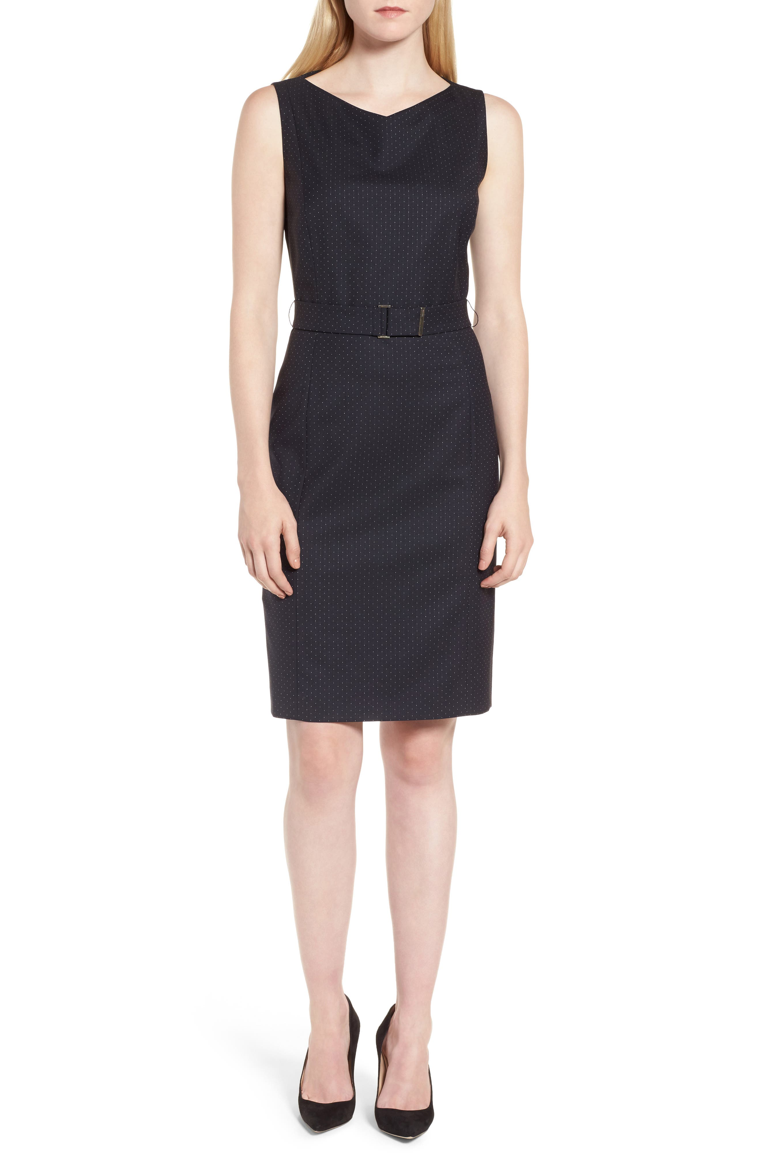 BOSS Dinalia Mini Dot Belted Wool Sheath Dress