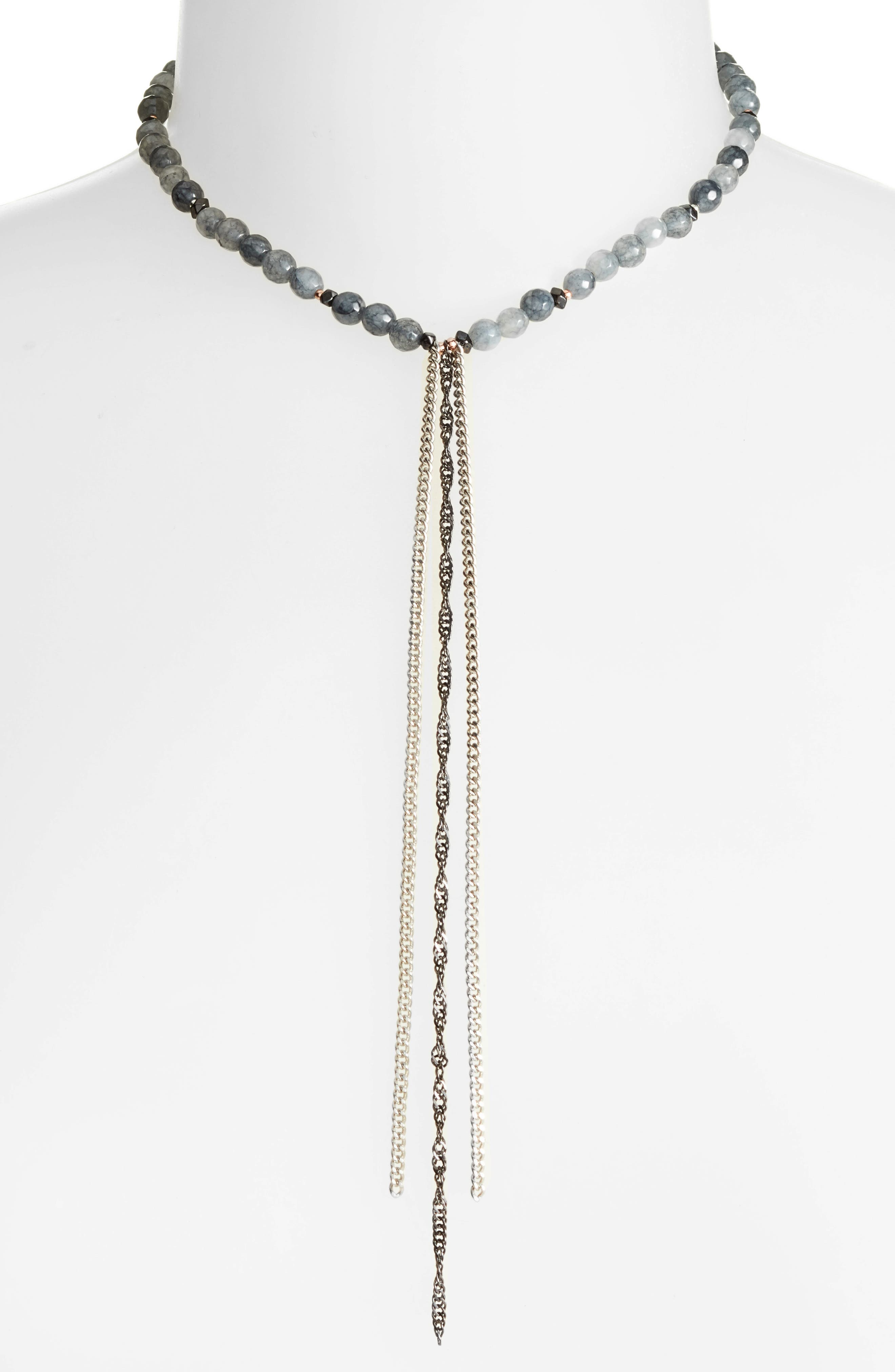 Chain Tassel Necklace,                         Main,                         color, Grey