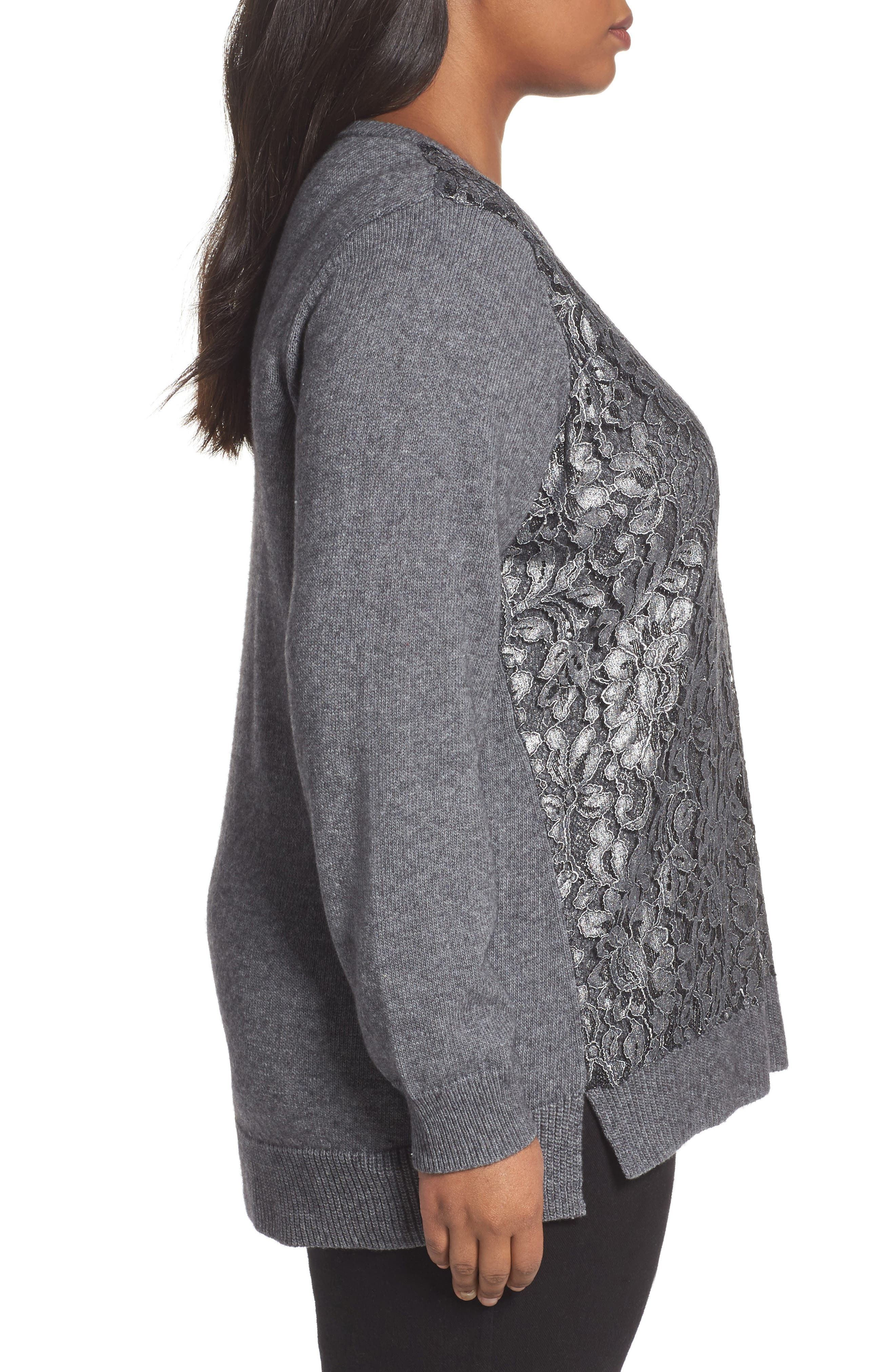 Pixie Metallic Lace Panel Sweater,                             Alternate thumbnail 3, color,                             Slate