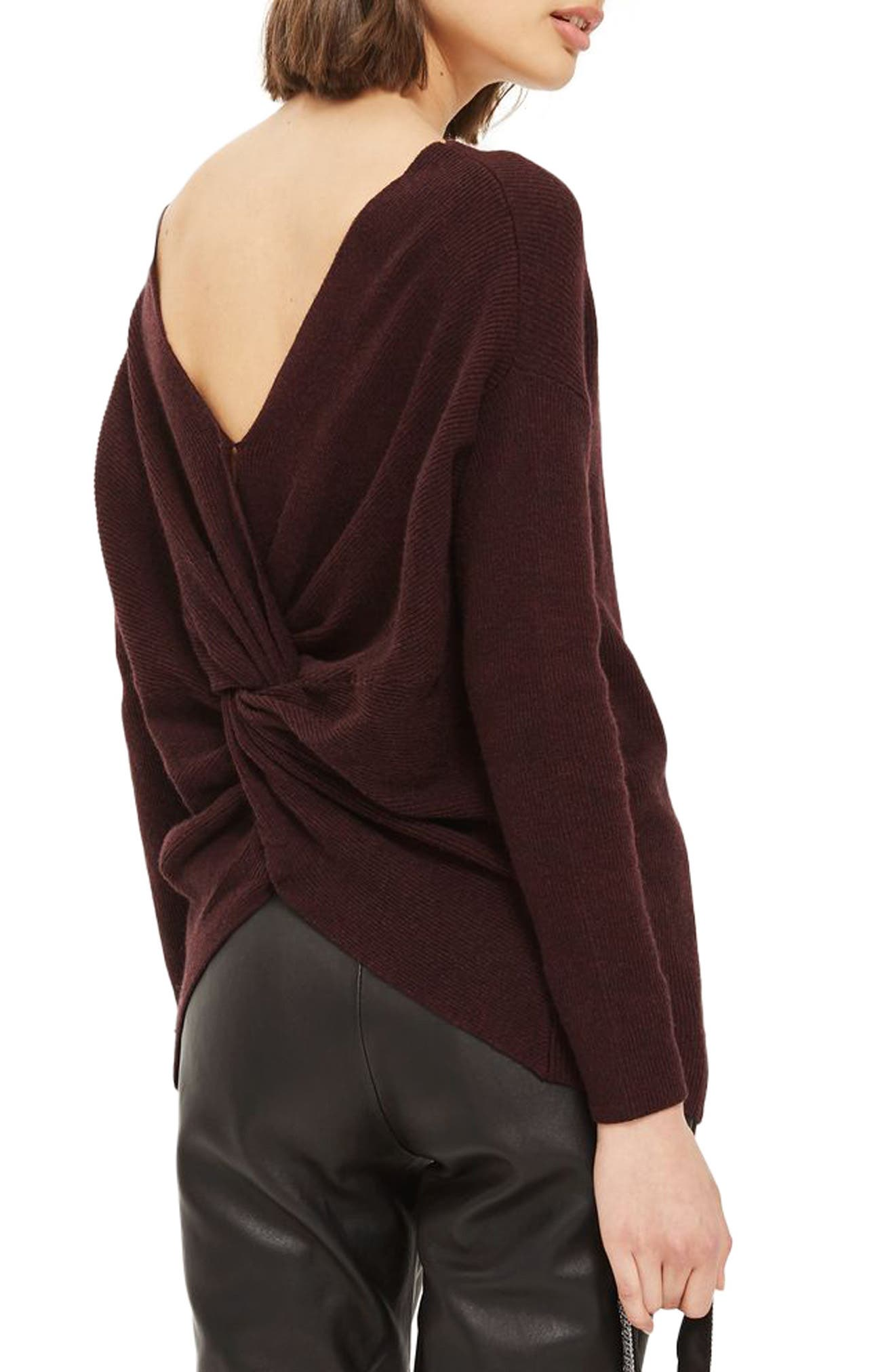 Twist Back Sweater,                             Alternate thumbnail 2, color,                             Burgundy