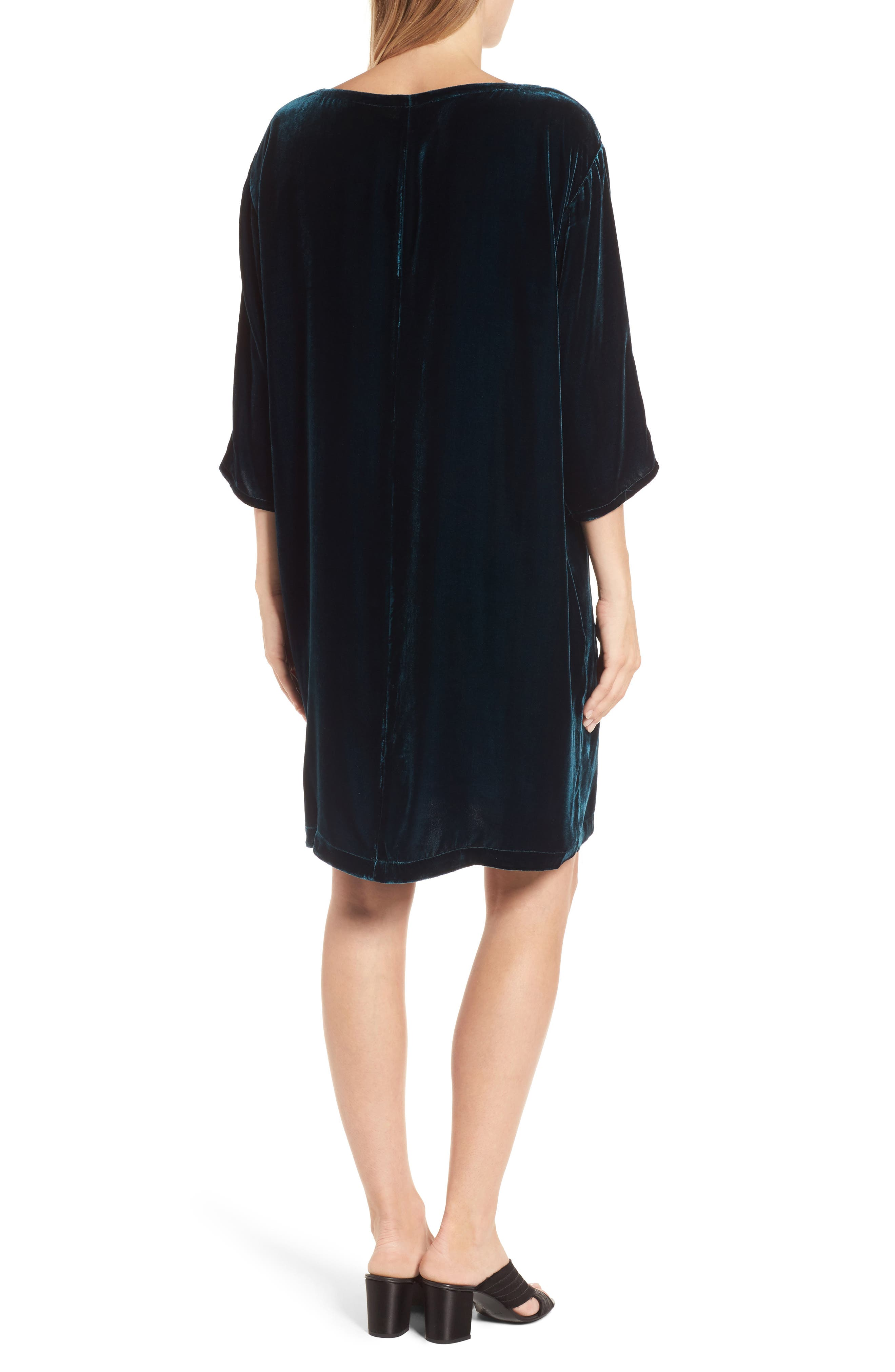 Velvet Shift Dress,                             Alternate thumbnail 2, color,                             Blue Spruce