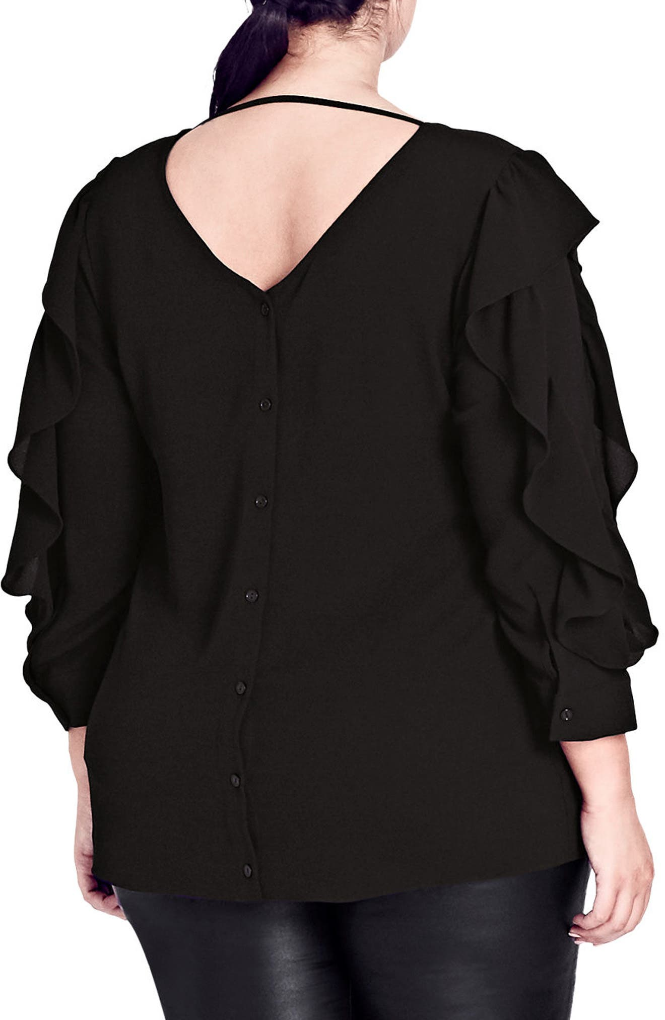 Ruffle Sleeve Button Back Shirt,                             Alternate thumbnail 2, color,                             Black
