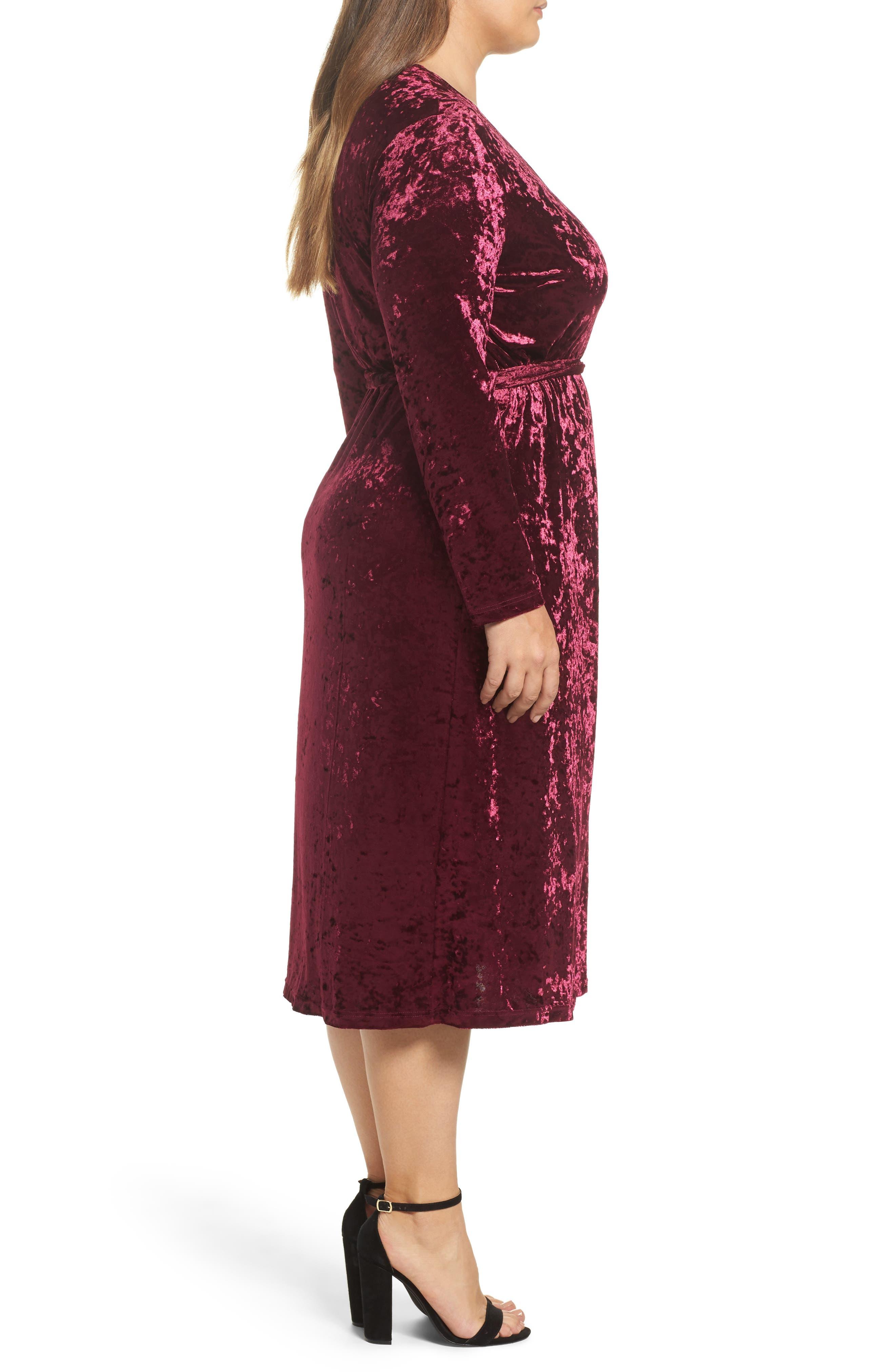 Velvet Midi Wrap Dress,                             Alternate thumbnail 3, color,                             Burgundy
