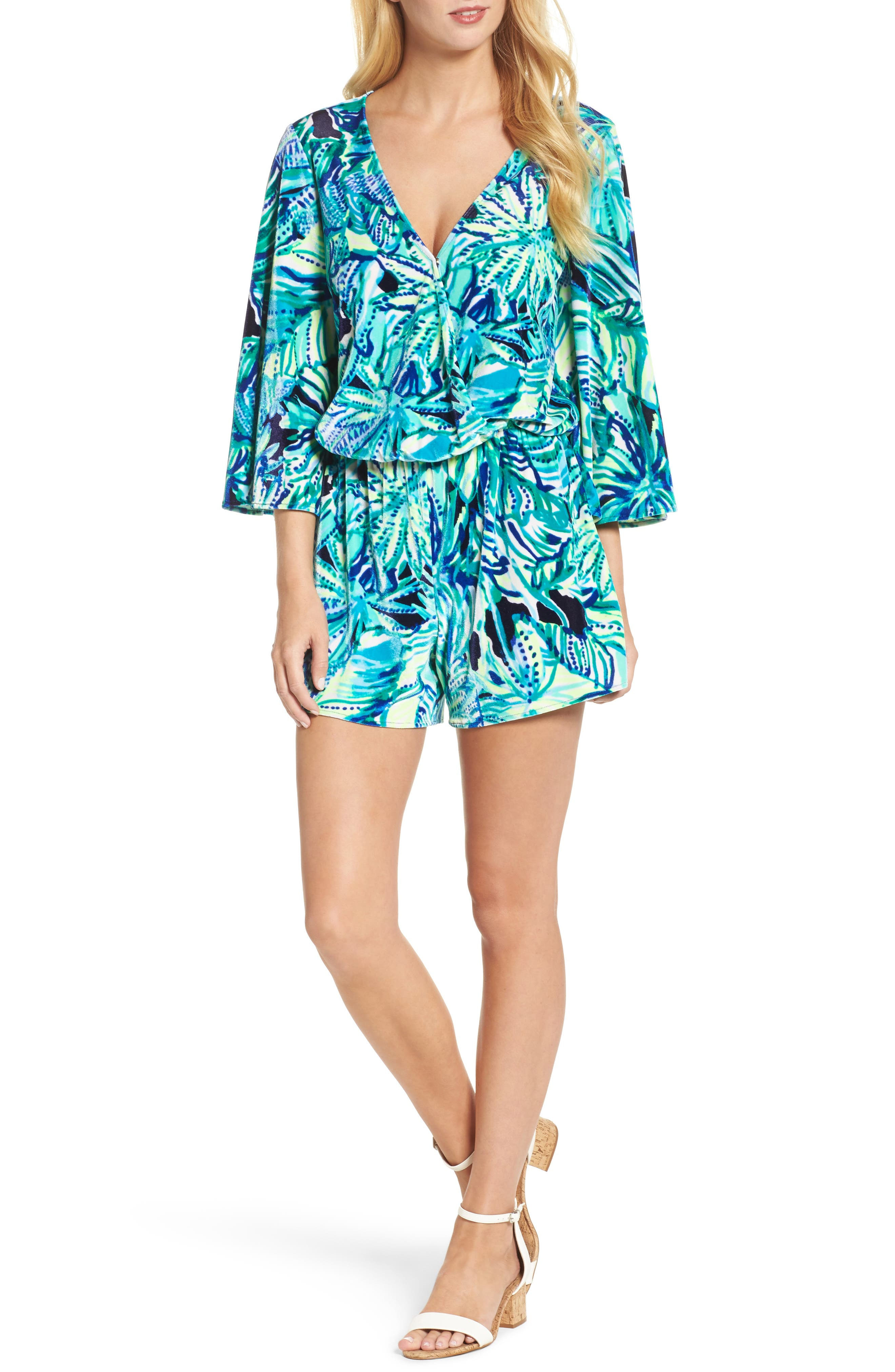 Lily Pulitzer<sup>®</sup> Viviana Romper,                         Main,                         color, Bright Navy Dally