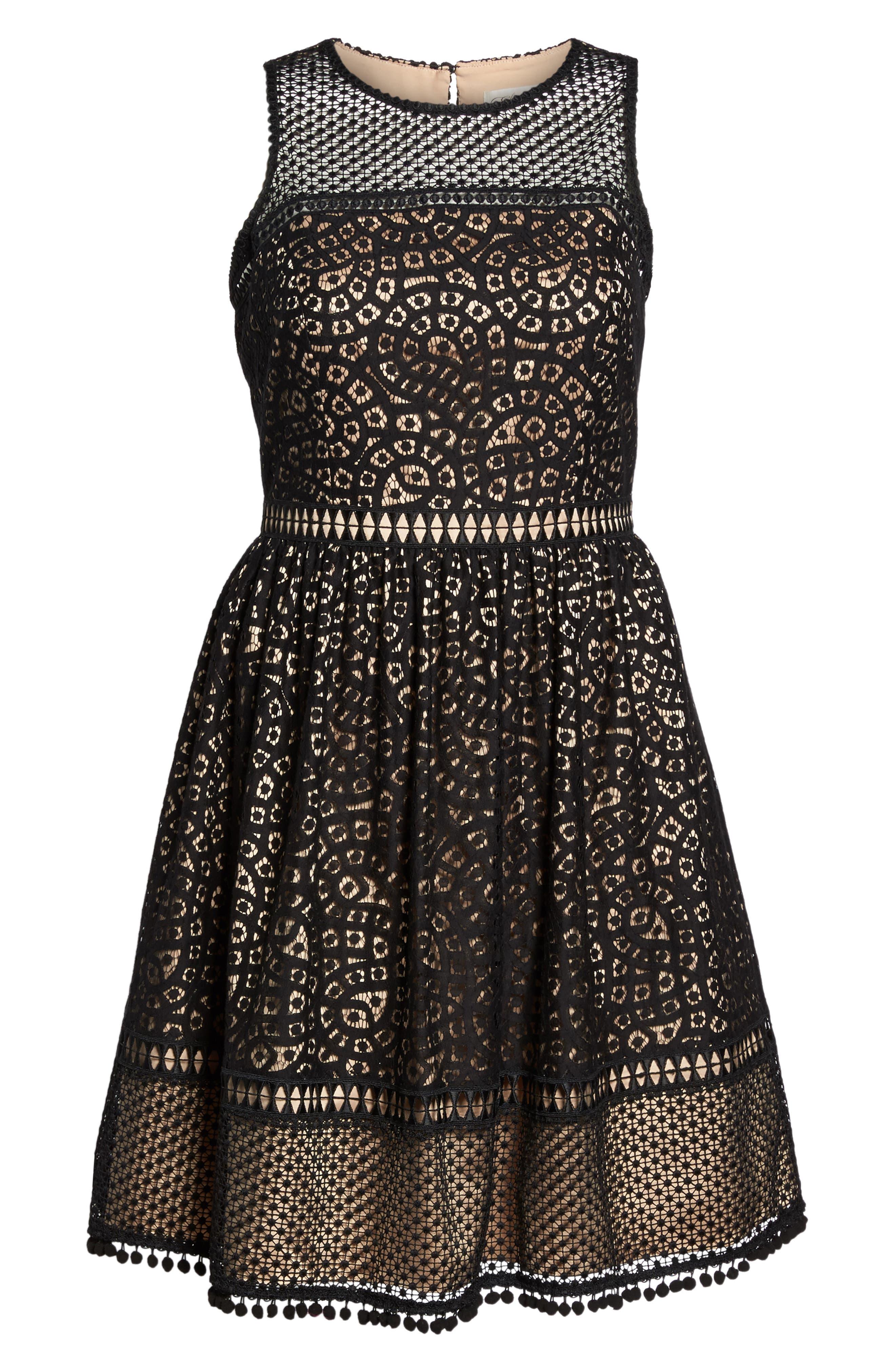 Sleeveless Lace Trim Fit & Flare Dress,                             Alternate thumbnail 7, color,                             Black