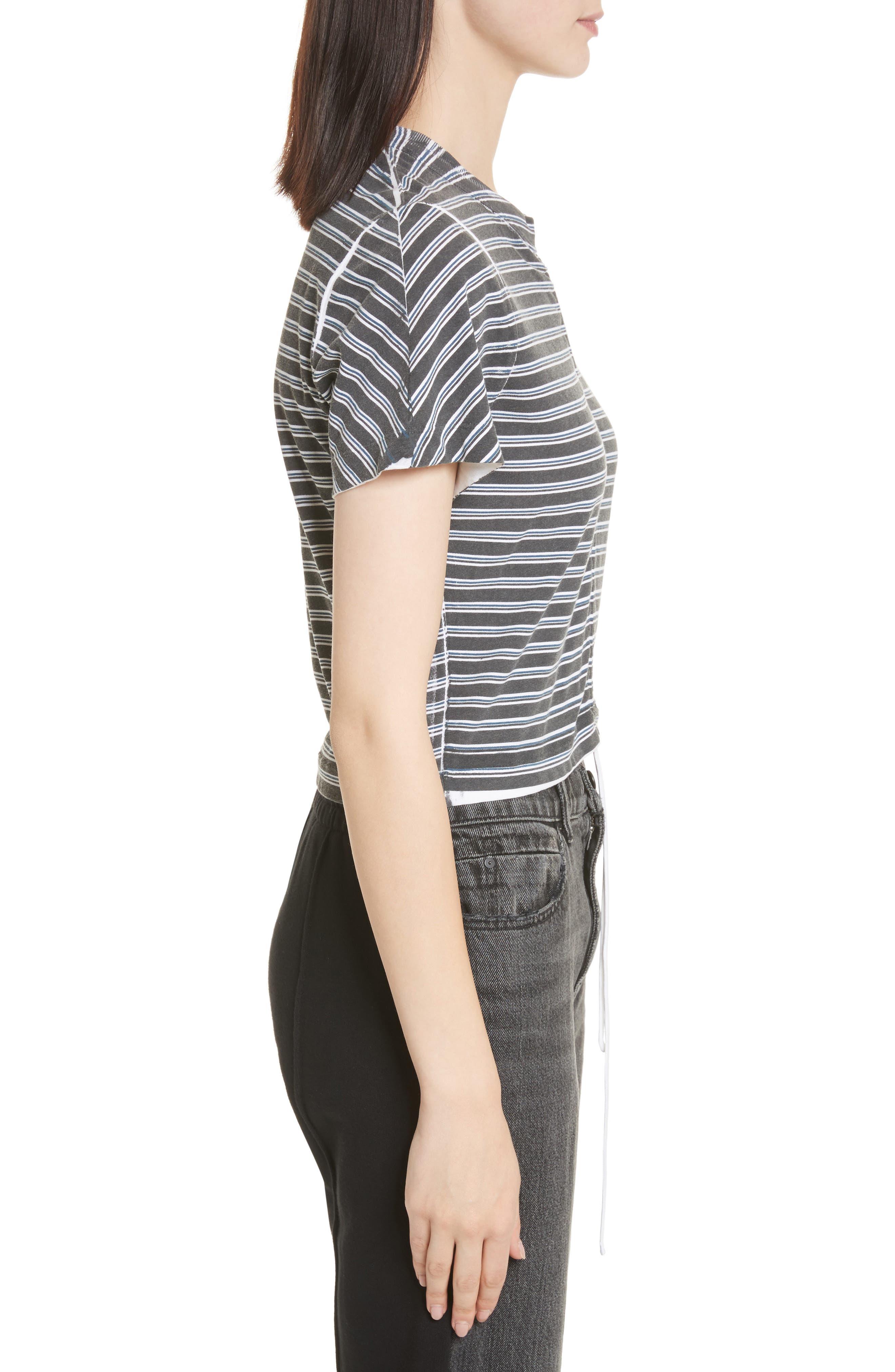 Ruched Stripe Cotton Tee,                             Alternate thumbnail 3, color,                             Black/ White/ Indigo Stripe