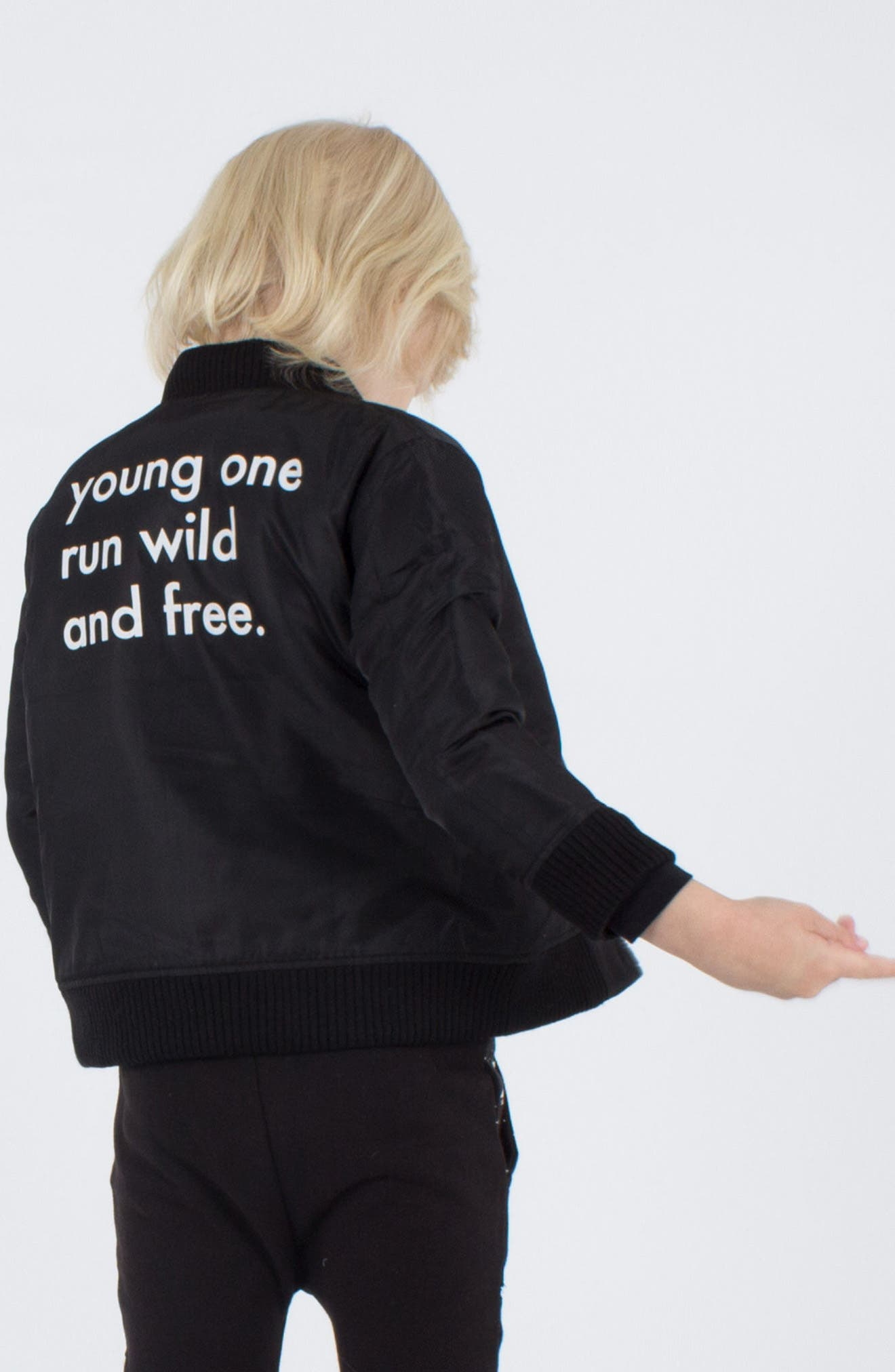 Wild & Free Padded Bomber Jacket,                             Alternate thumbnail 4, color,                             Black