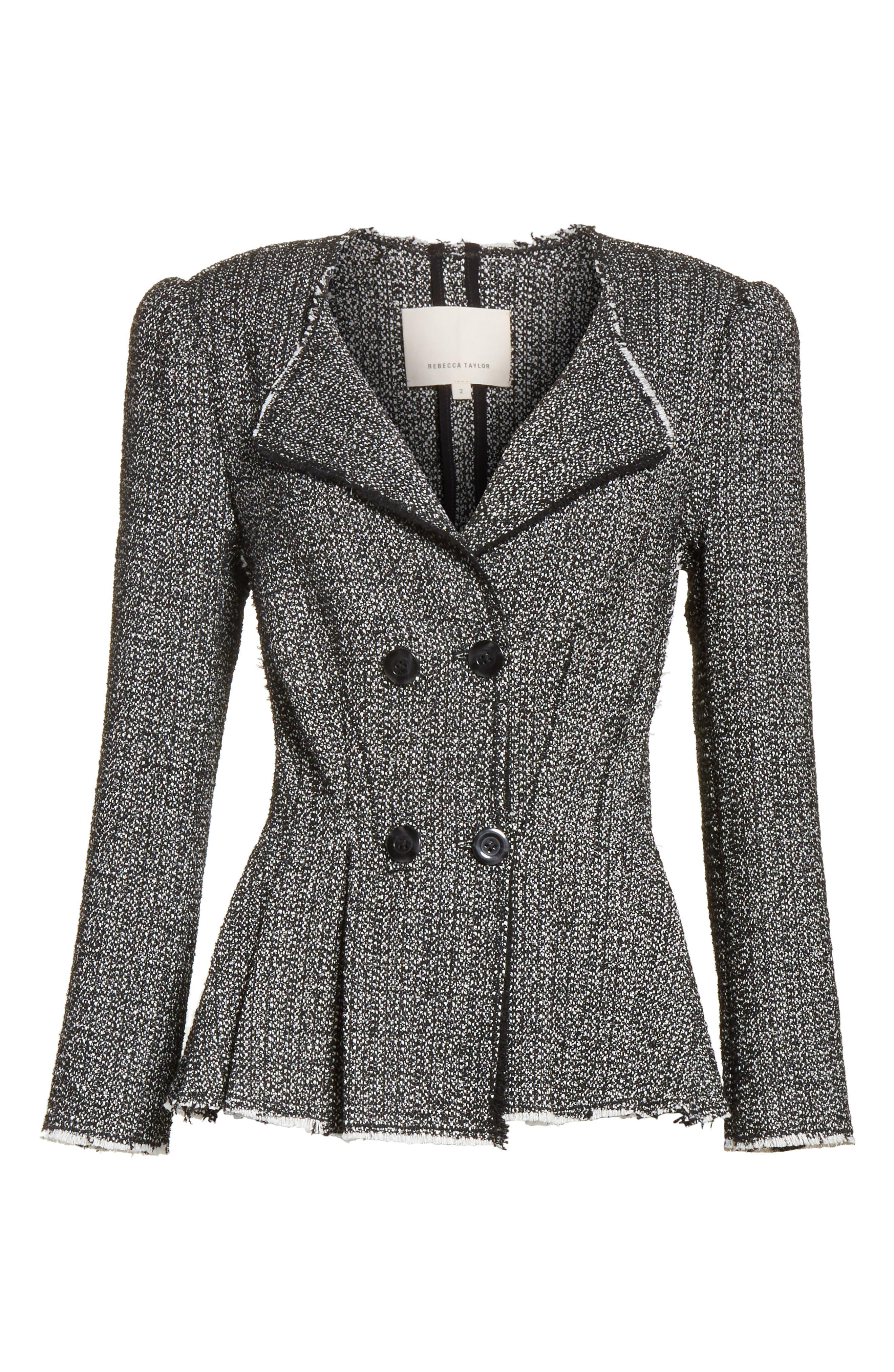 Texture Tweed Jacket,                             Alternate thumbnail 6, color,                             Black Combo