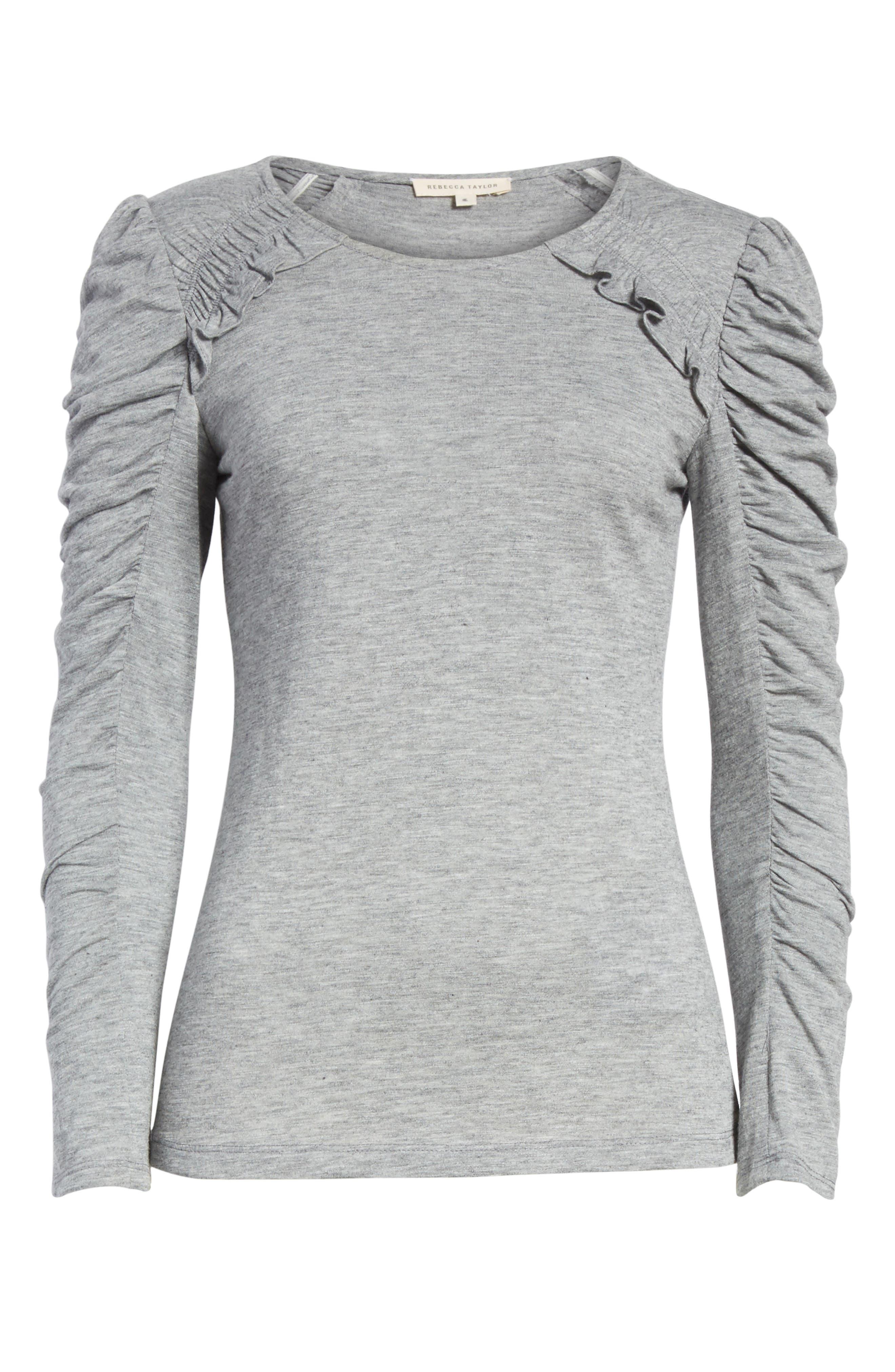 Ruffled Jersey Top,                             Alternate thumbnail 6, color,                             Grey Melange