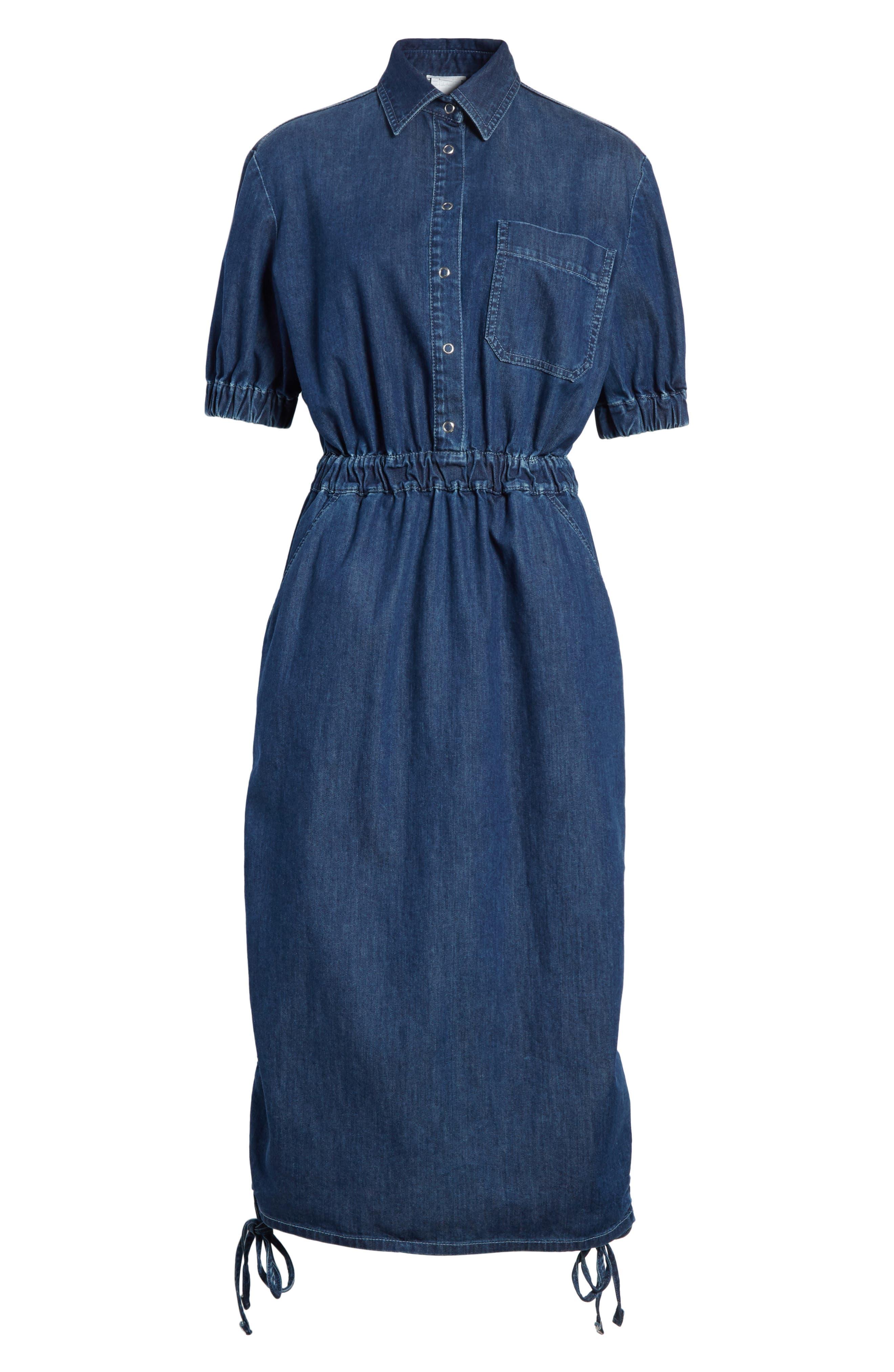 Ruched Denim Midi Dress,                             Alternate thumbnail 6, color,                             Dark Blue
