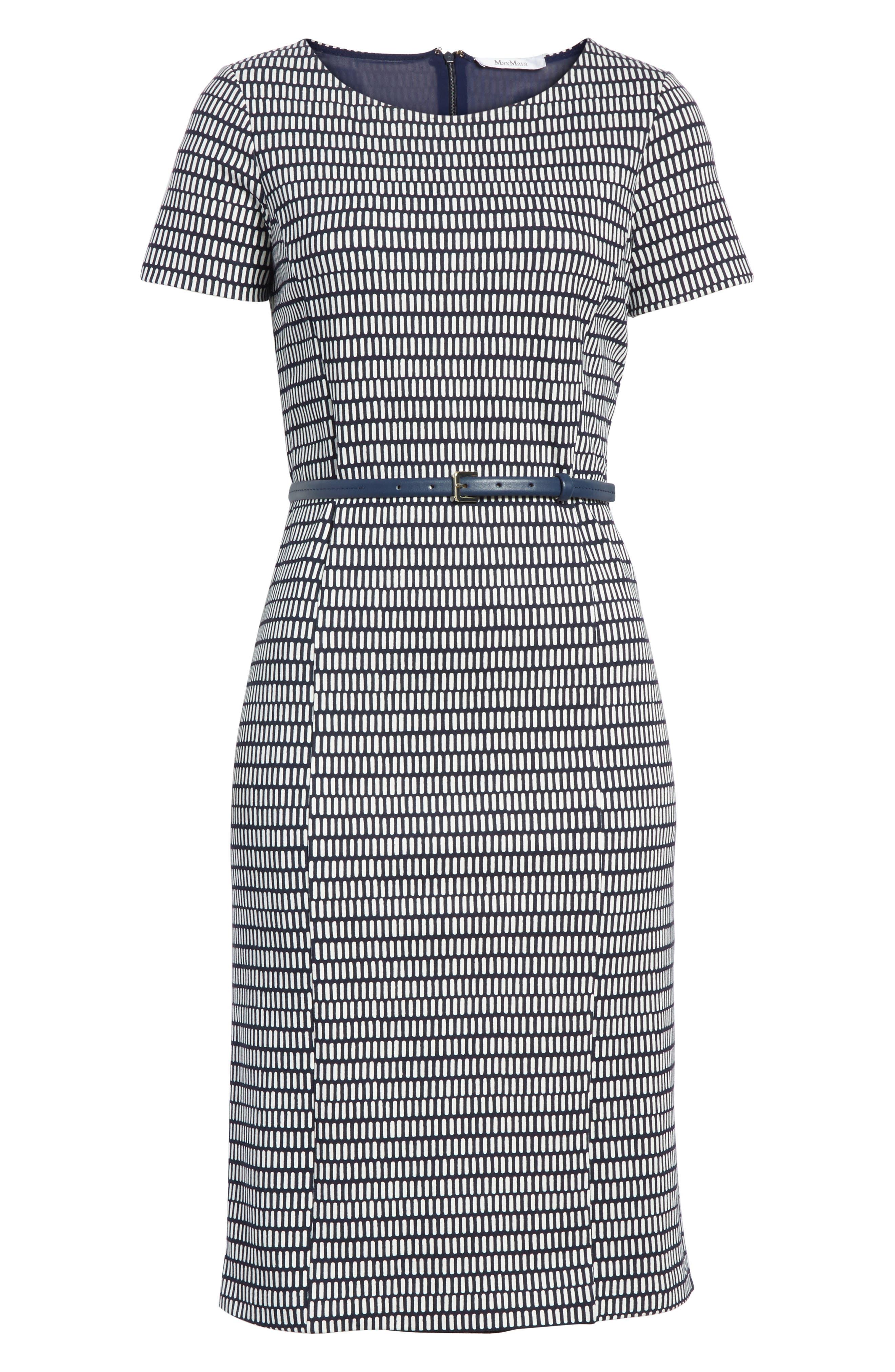 Felino Print Sheath Dress,                             Alternate thumbnail 6, color,                             Cornflower Blue