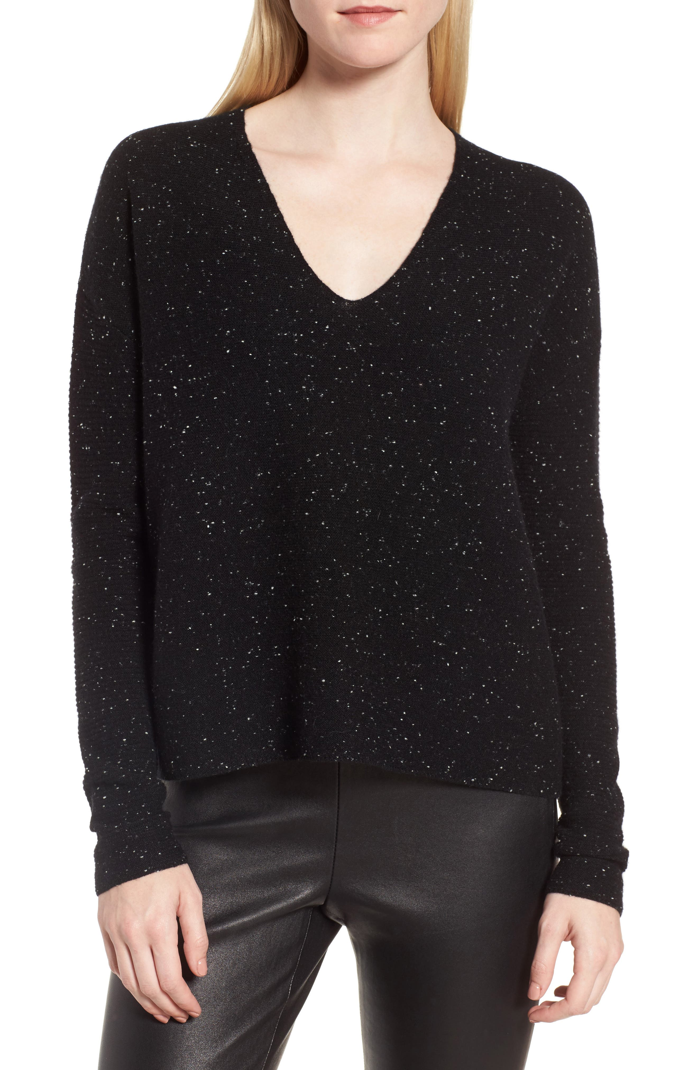 Textured Cashmere V-Neck Sweater,                         Main,                         color, Black Tweed