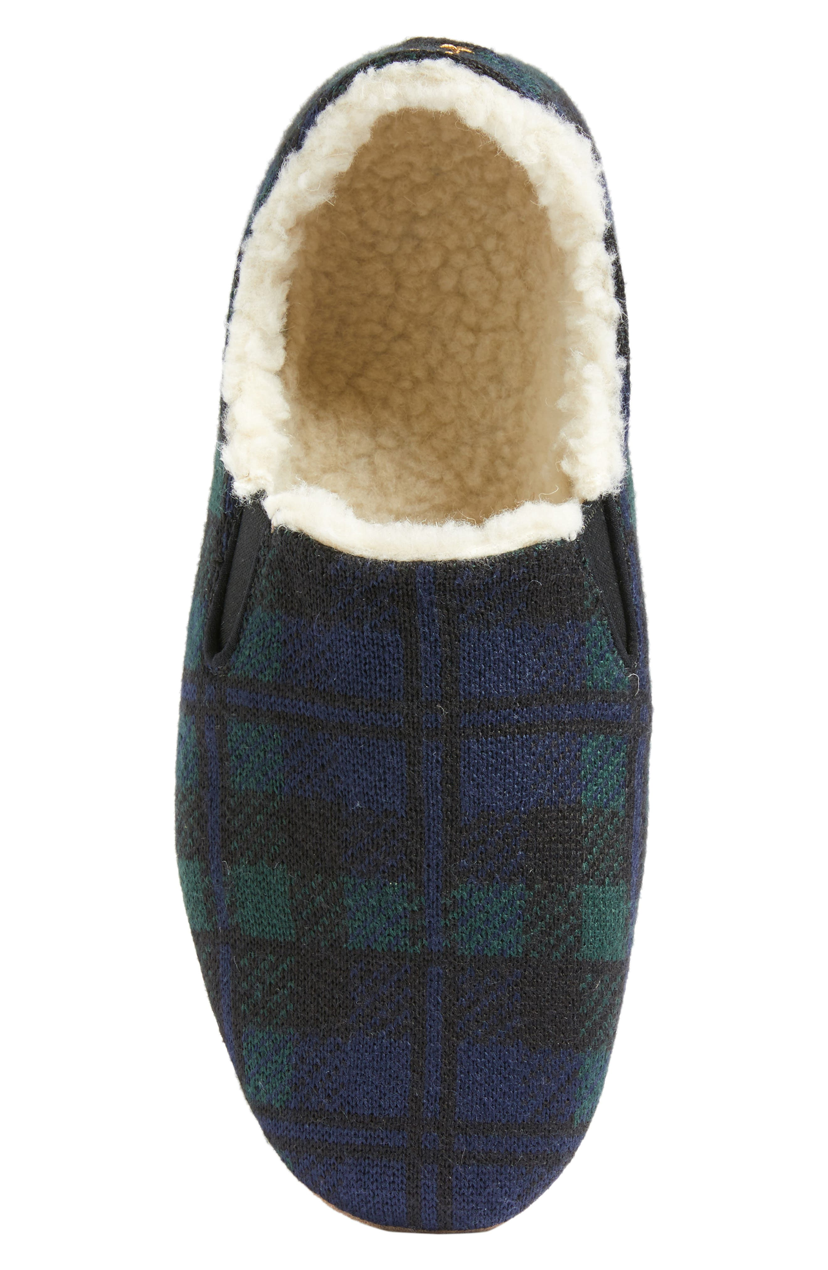 Black Watch Plaid Nomad Slippers,                             Alternate thumbnail 4, color,                             Navy