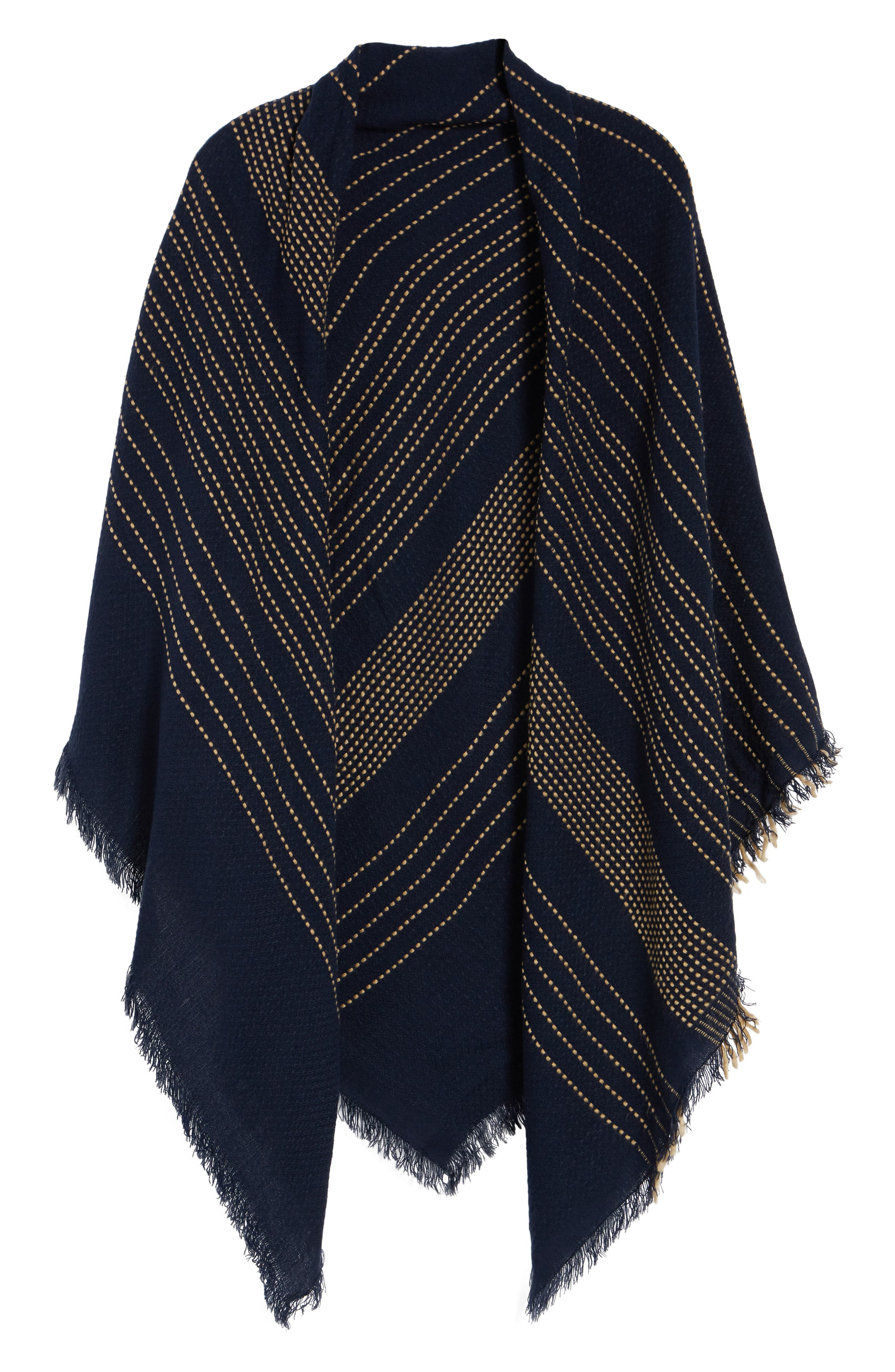 Textured Stripe Blanket Scarf,                             Alternate thumbnail 6, color,                             Navy
