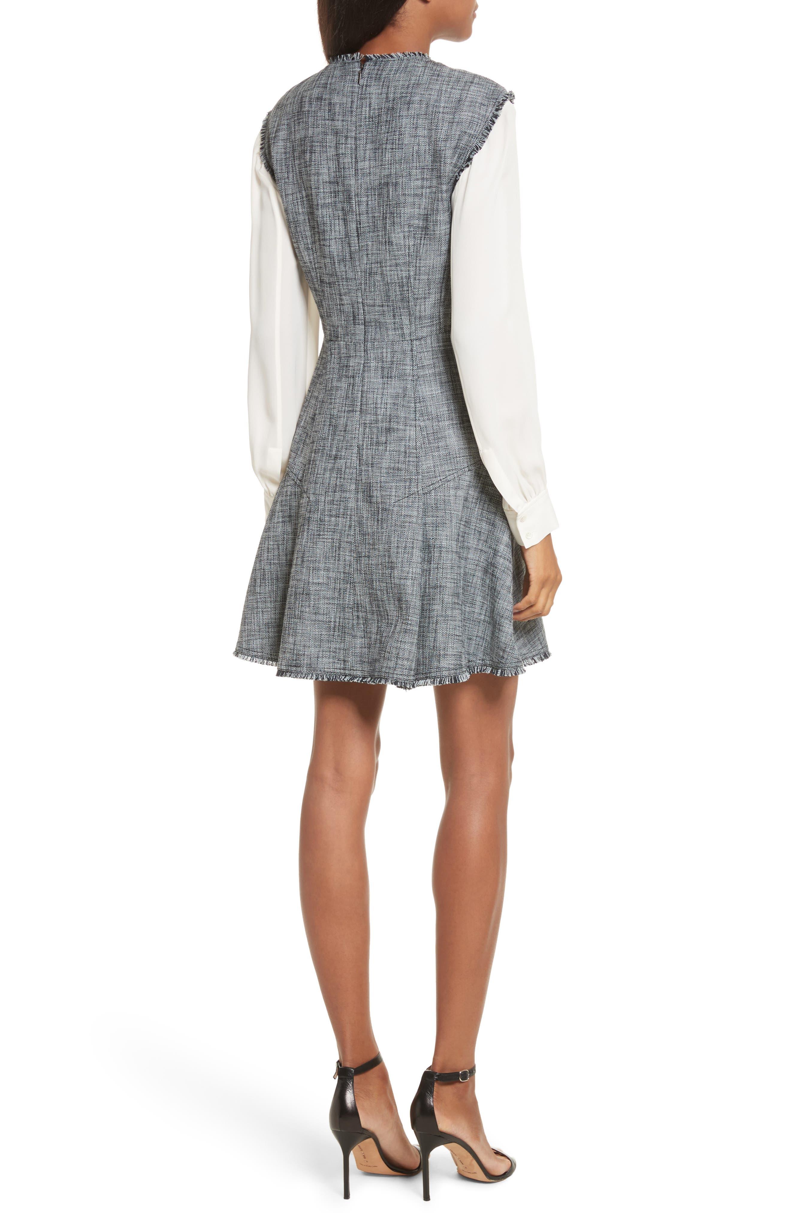 Slub Suiting Fit & Flare Dress,                             Alternate thumbnail 2, color,                             Grey/ Black Combo