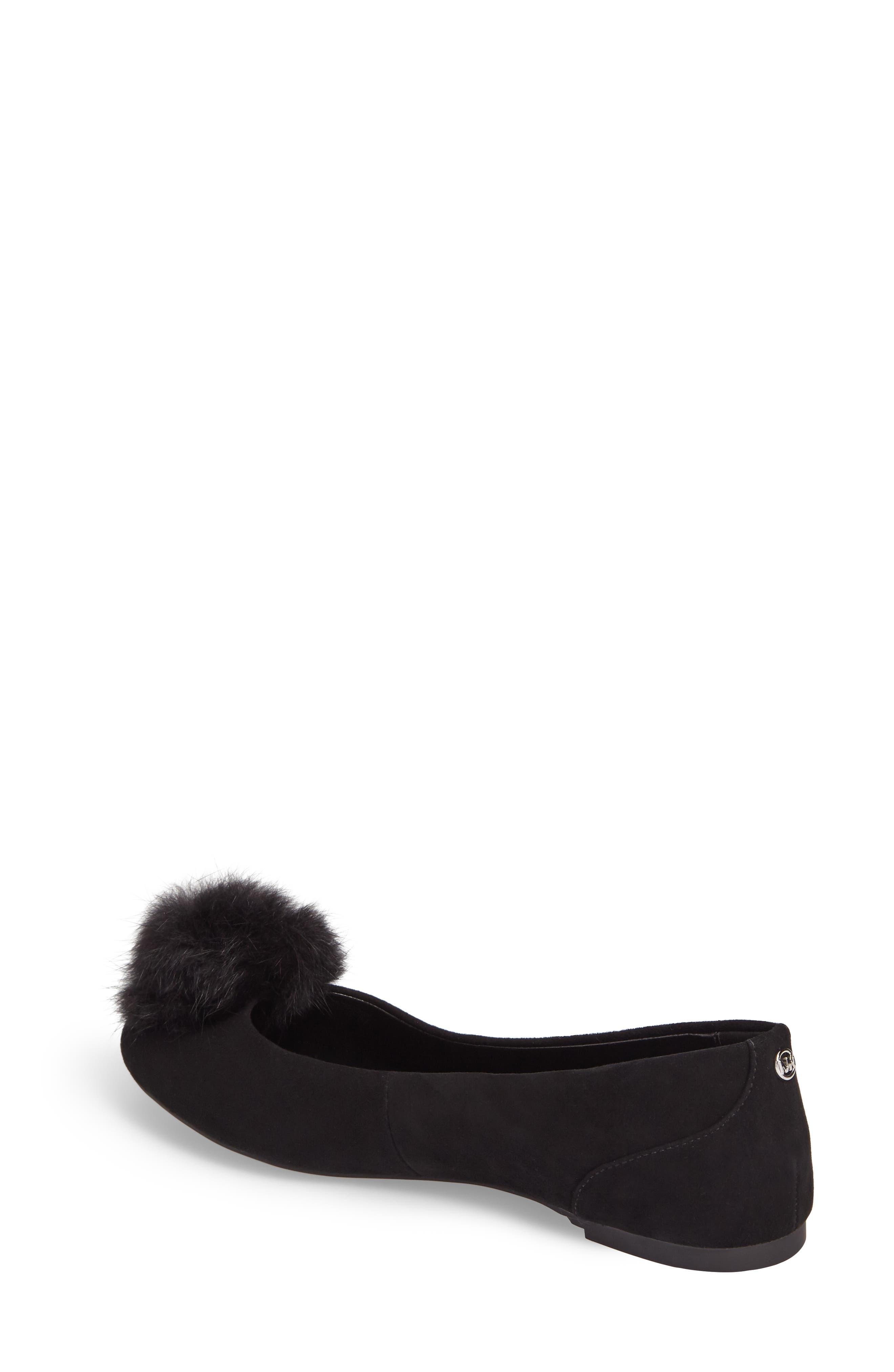 Remi Ballet Flat with Genuine Rabbit Fur Pom,                             Alternate thumbnail 2, color,                             Black Suede