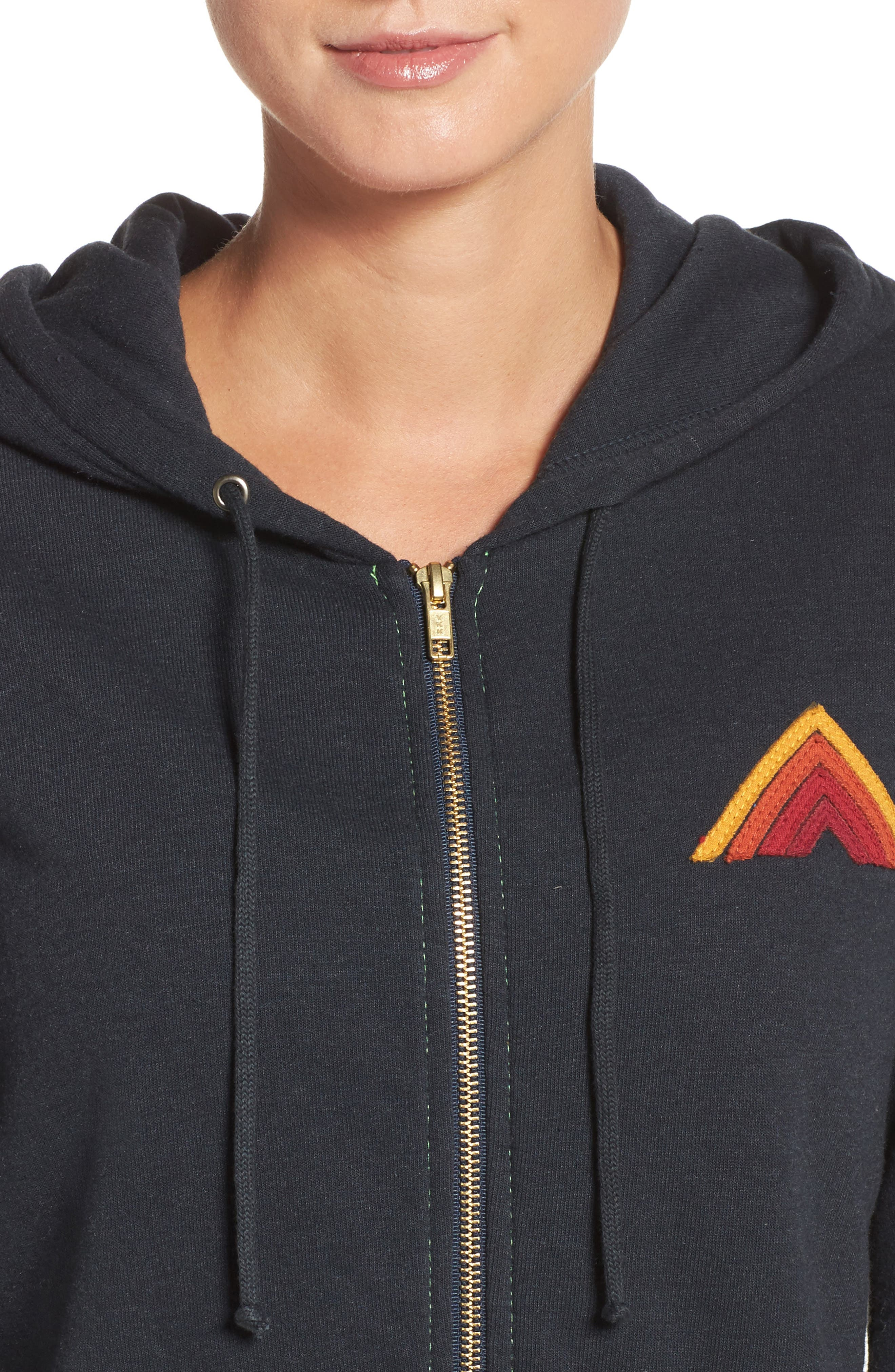 Mountain Stripe Zip Hoodie,                             Alternate thumbnail 4, color,                             Charcoal/ Red Stripes
