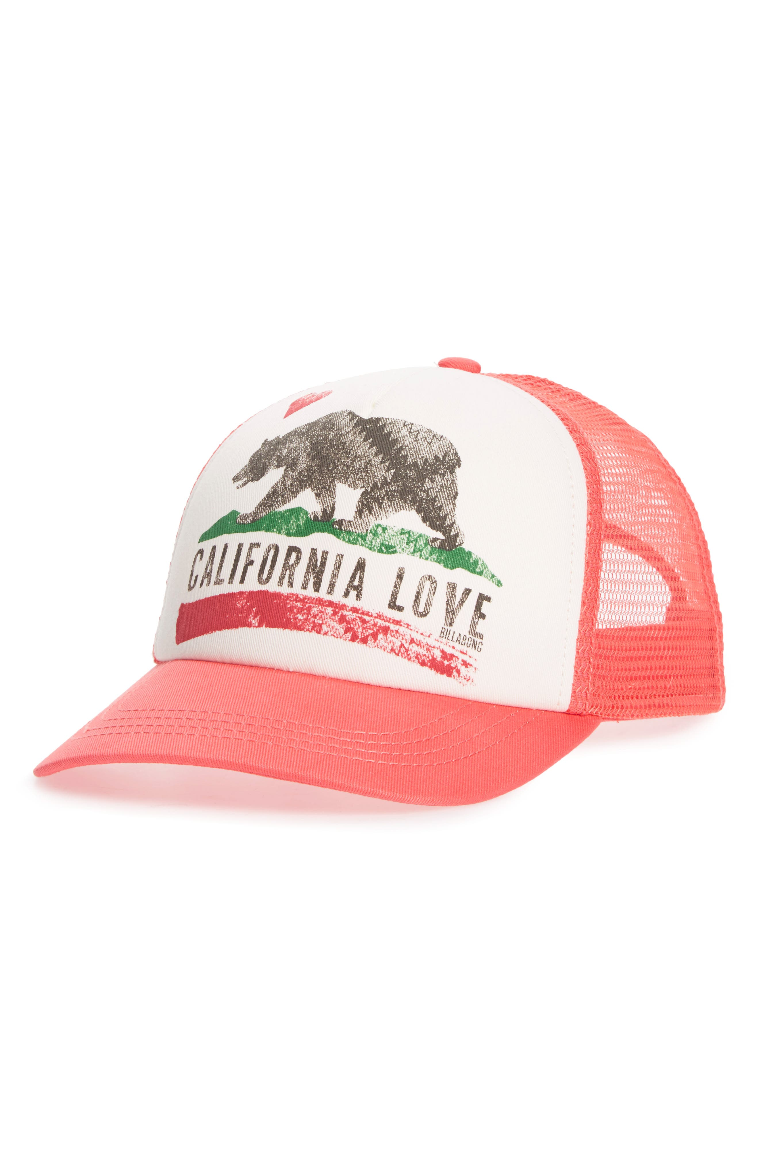 Pitstop Trucker Hat,                             Main thumbnail 1, color,                             Pink Crush