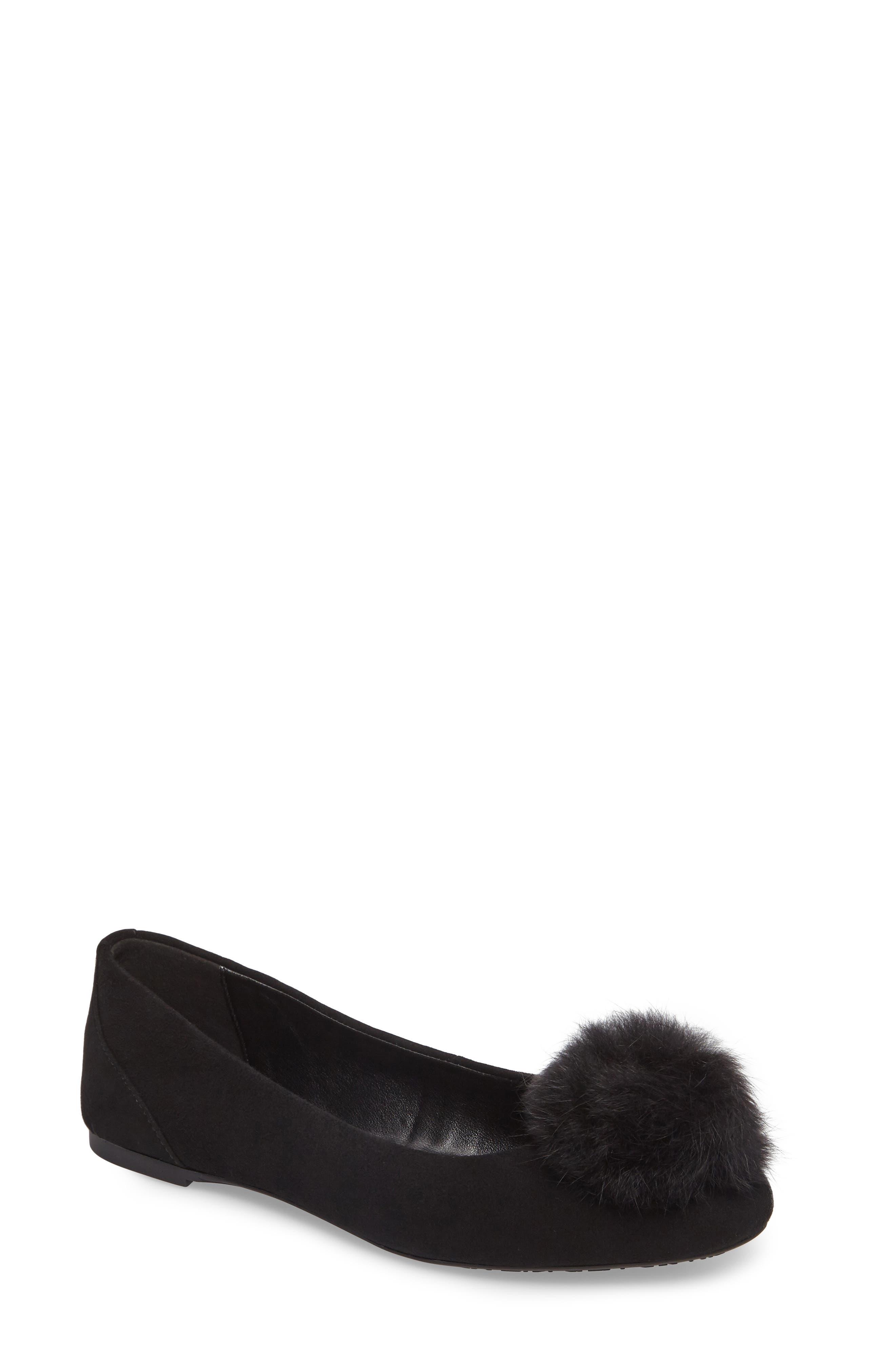 Remi Ballet Flat with Genuine Rabbit Fur Pom,                         Main,                         color, Black Suede