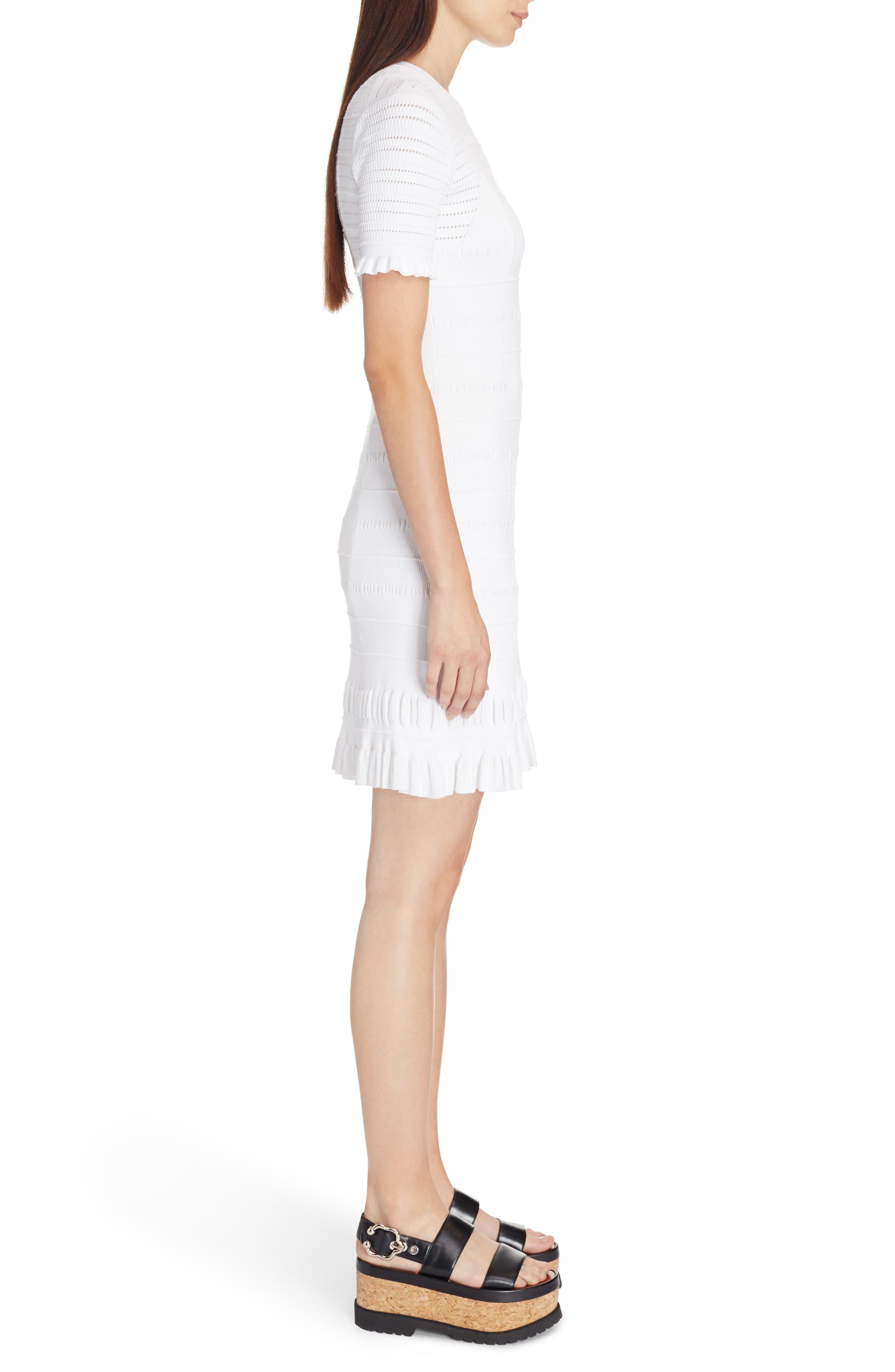 Knit Ruffle Hem Dress,                             Alternate thumbnail 3, color,                             White