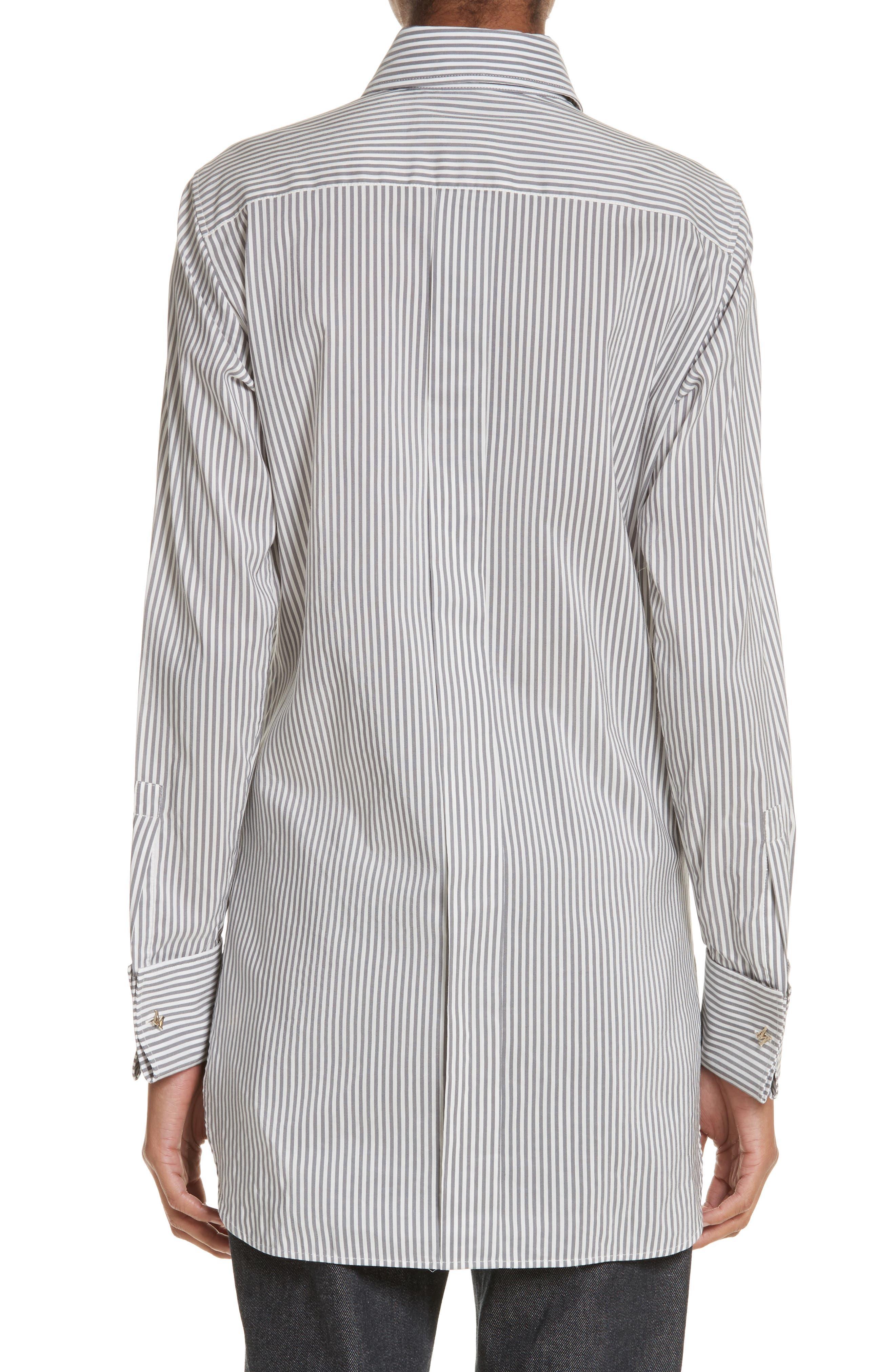 Filato Stripe Cotton & Silk Shirt,                             Alternate thumbnail 2, color,                             Medium Grey