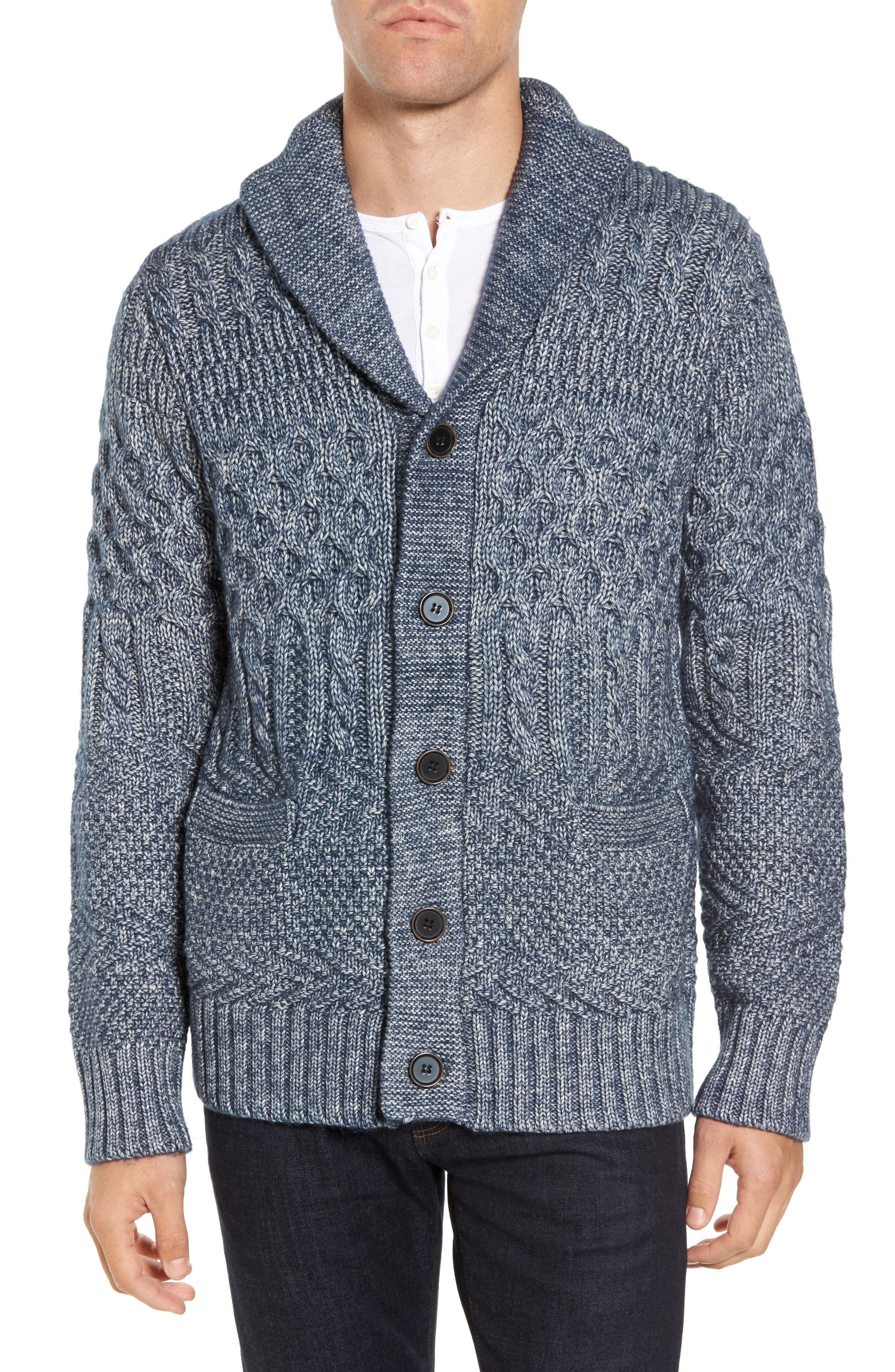 Cable Knit Cardigan,                         Main,                         color, Blue