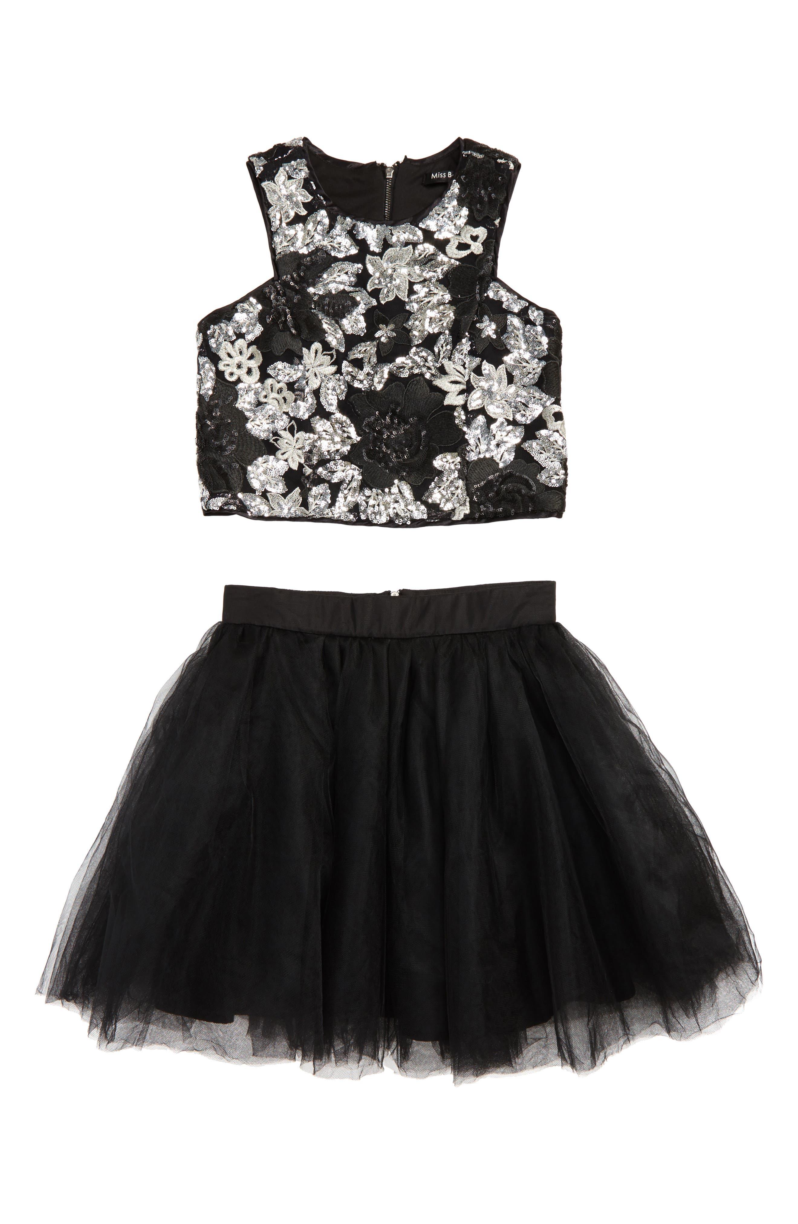 Shirley Meet & Greet Sequin Crop Top & Tulle Skirt,                         Main,                         color, Black