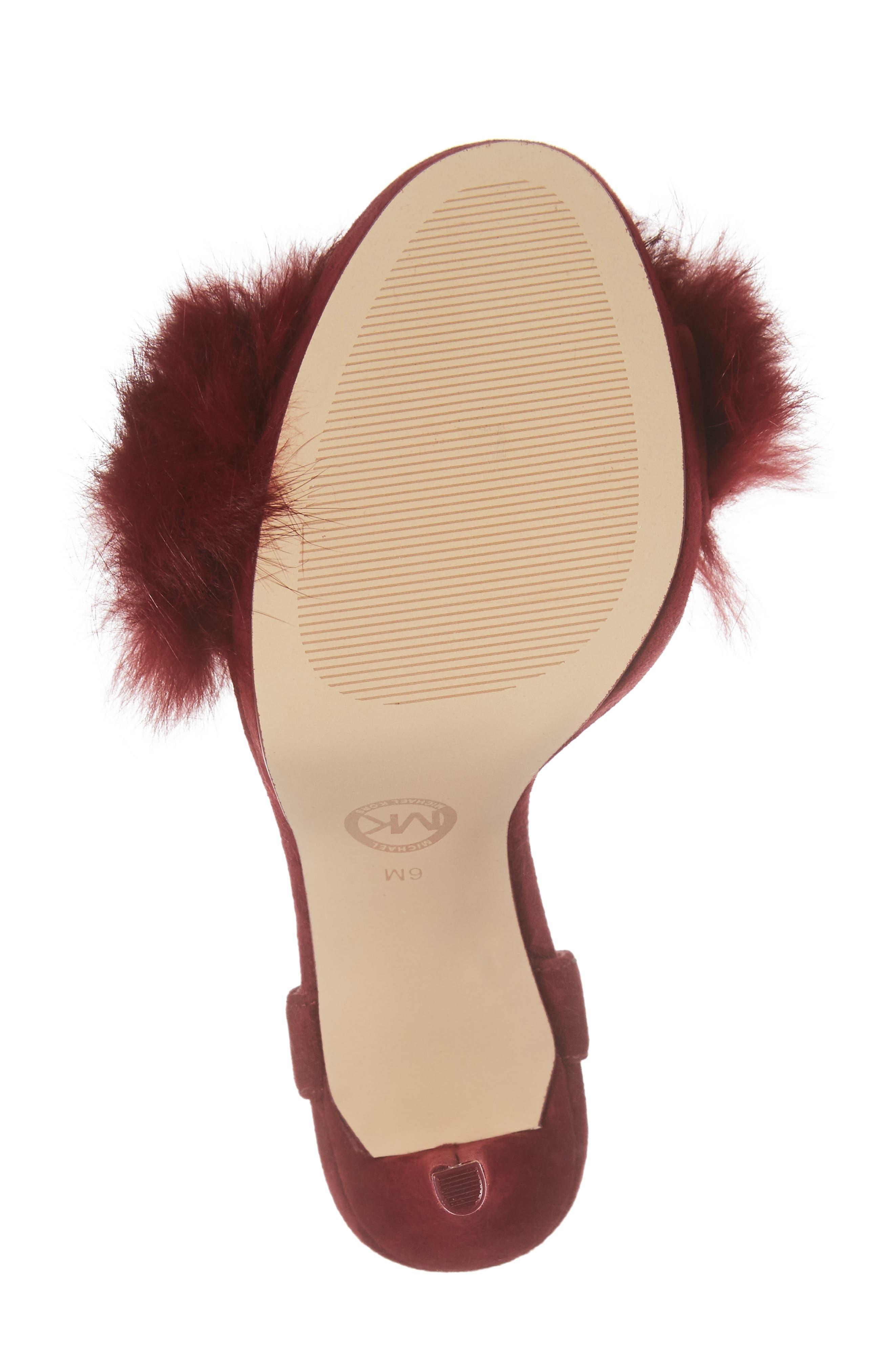 Faye Genuine Rabbit Fur Sandal,                             Alternate thumbnail 6, color,                             Mulberry Suede/ Fur