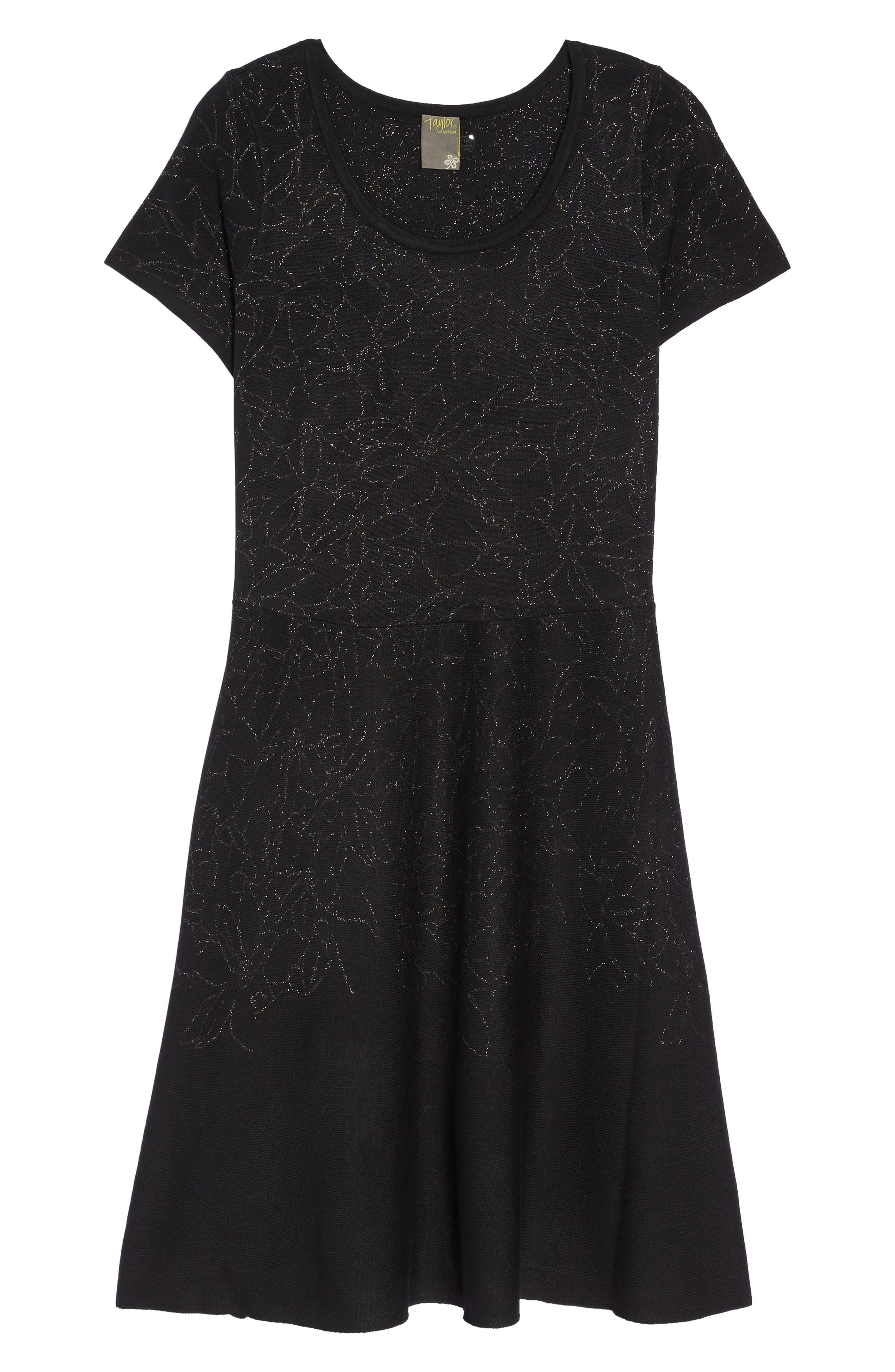 Metallic Knit Fit & Flare Dress,                             Alternate thumbnail 6, color,                             Black Silver
