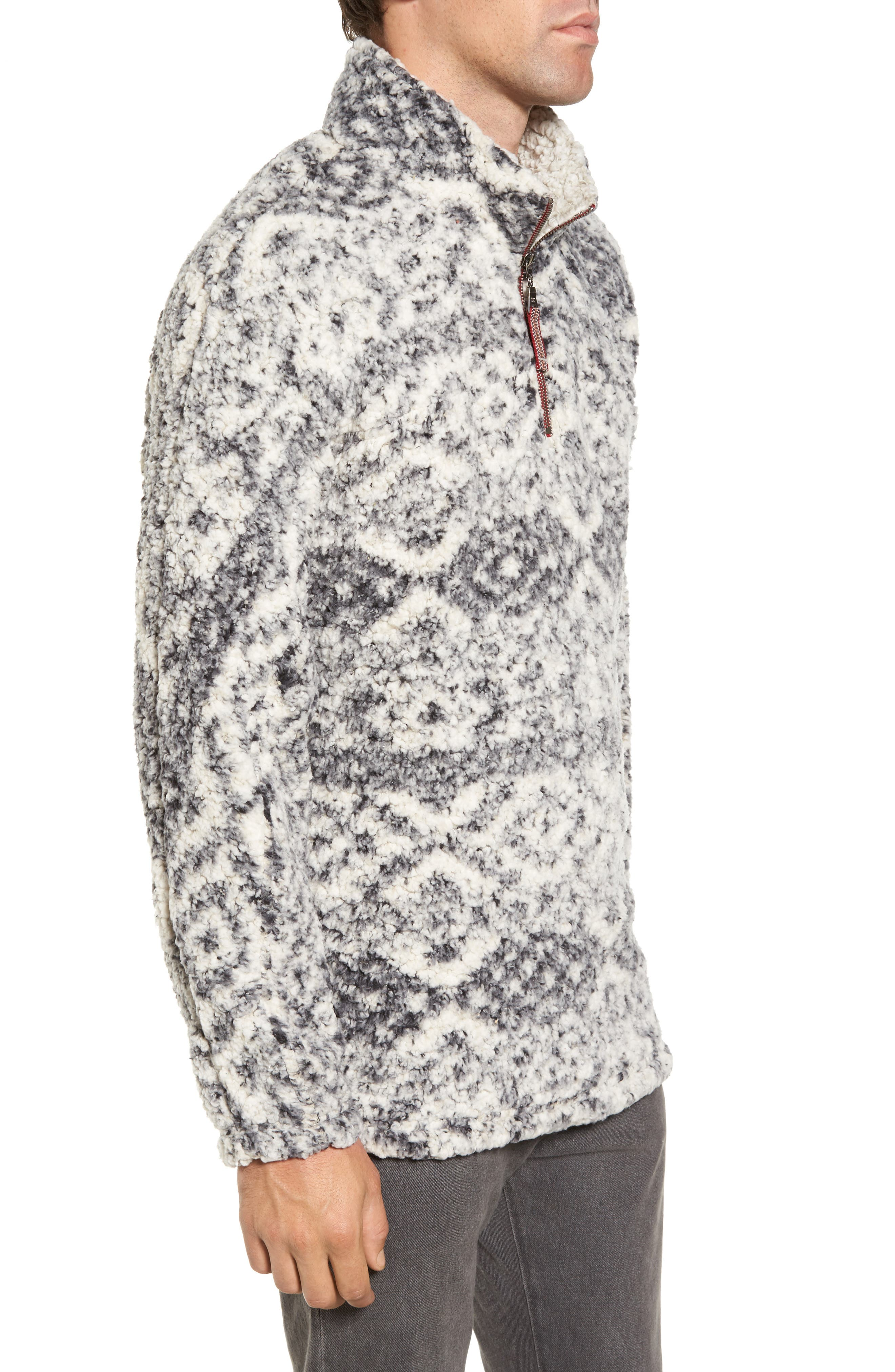 Print Frosty Tipped Quarter Zip Pullover,                             Alternate thumbnail 3, color,                             Putty