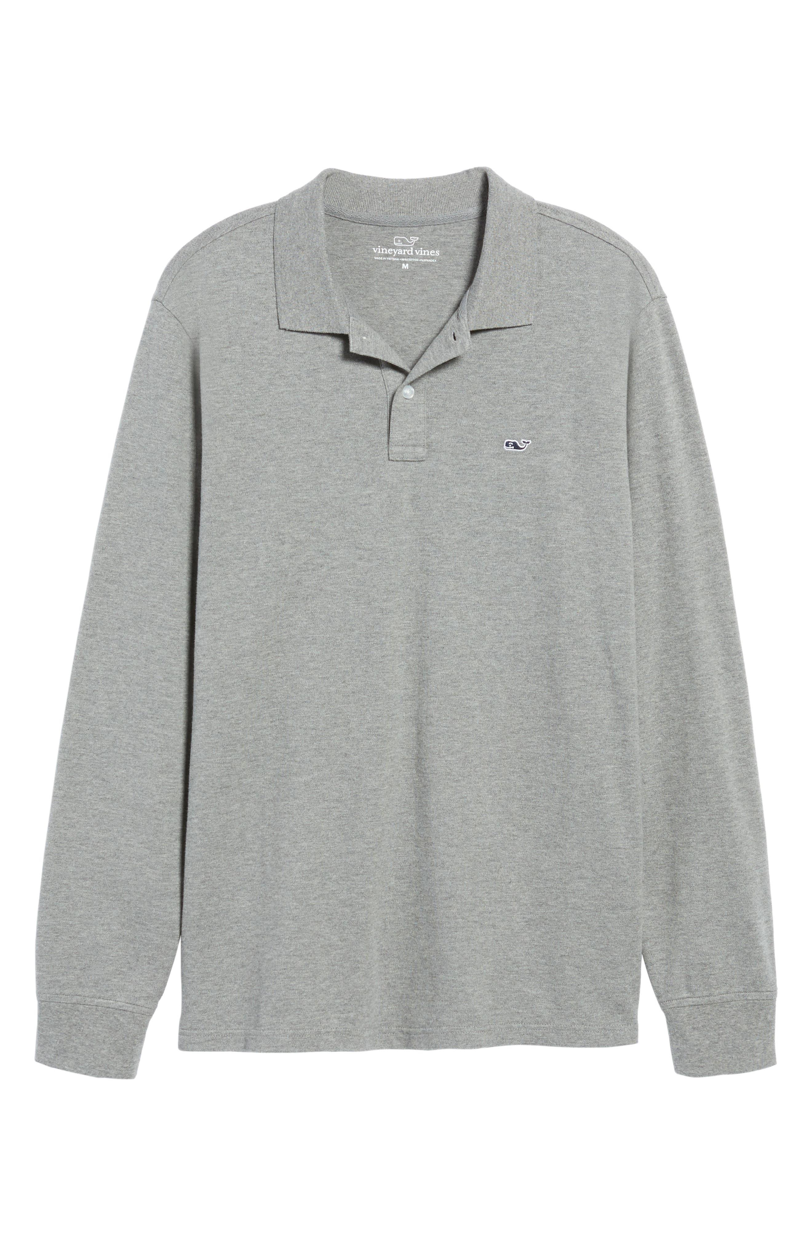 Long Sleeve Polo,                             Alternate thumbnail 6, color,                             Medium Heather Gray