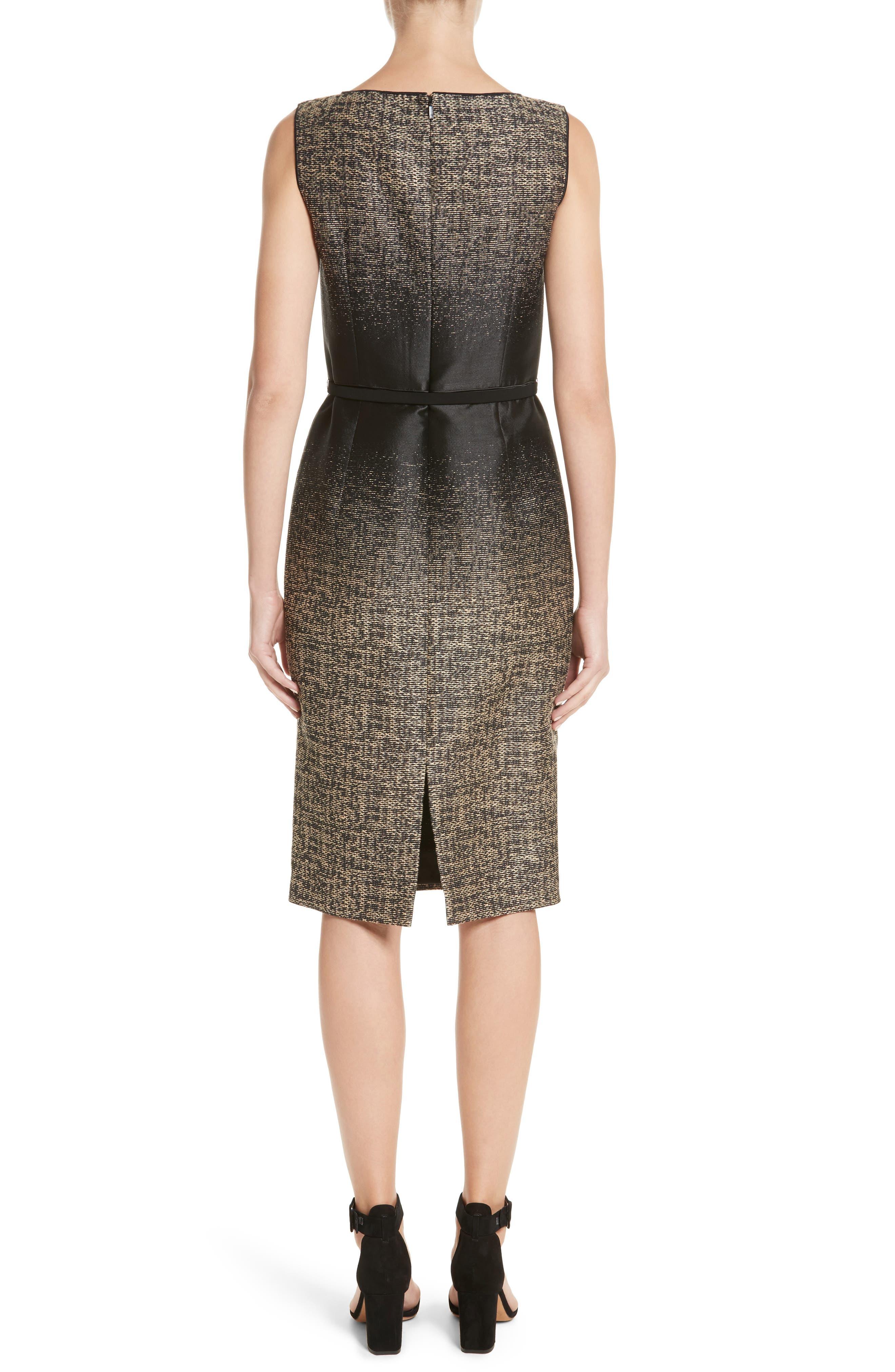 Paulette Jacquard Sheath Dress,                             Alternate thumbnail 2, color,                             Black Multi
